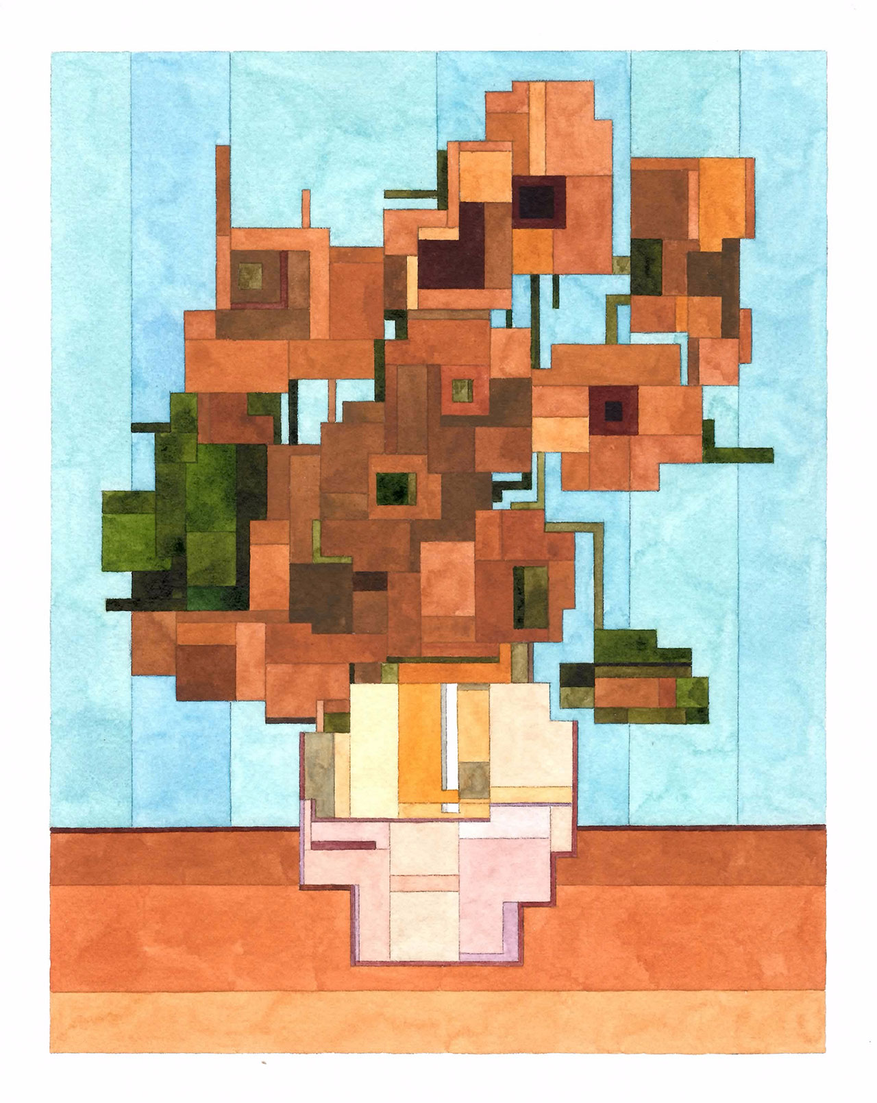Vase with Twelve Sunflowers, Art History 101 series by Adam Lister.(Original Painting by Vincent van Gogh, 1888).