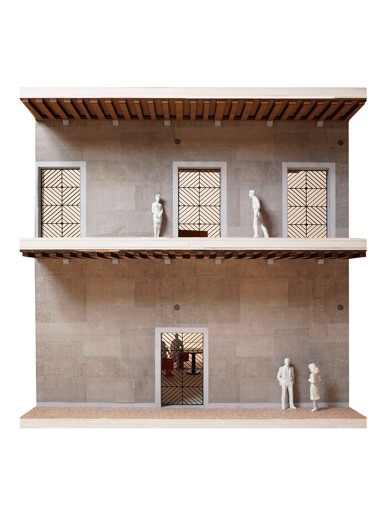 Il Fondaco dei Tedeschi, Gallerias with OMA designed gates, model picture. Image courtesy OMA.