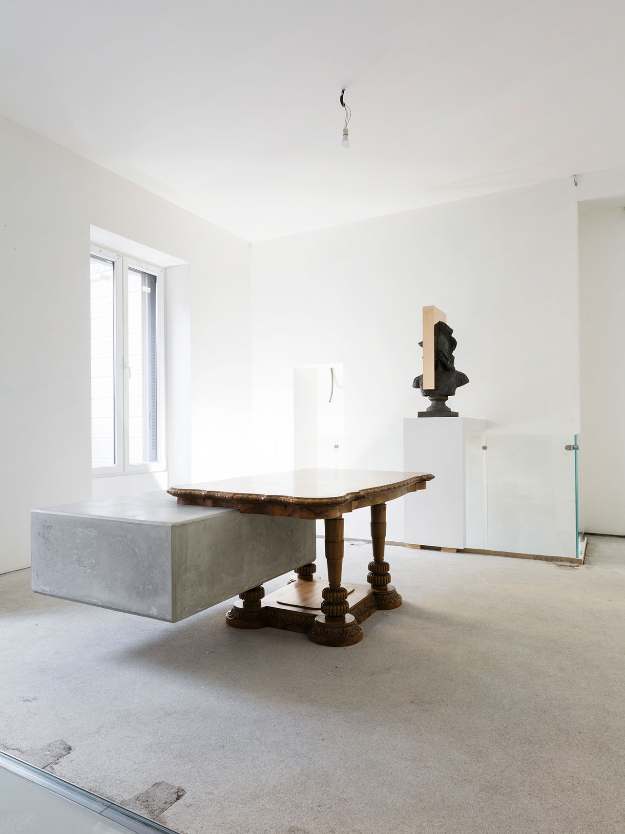 "Nucleo (Piergiorgio Robino + Marzia Ricci), ""Boolean"" And  (Table), 2017. Concrete, vintage furniture204 x 142 x 80h cm. Unique piece. Photo by Studio Pepe Fotografia."