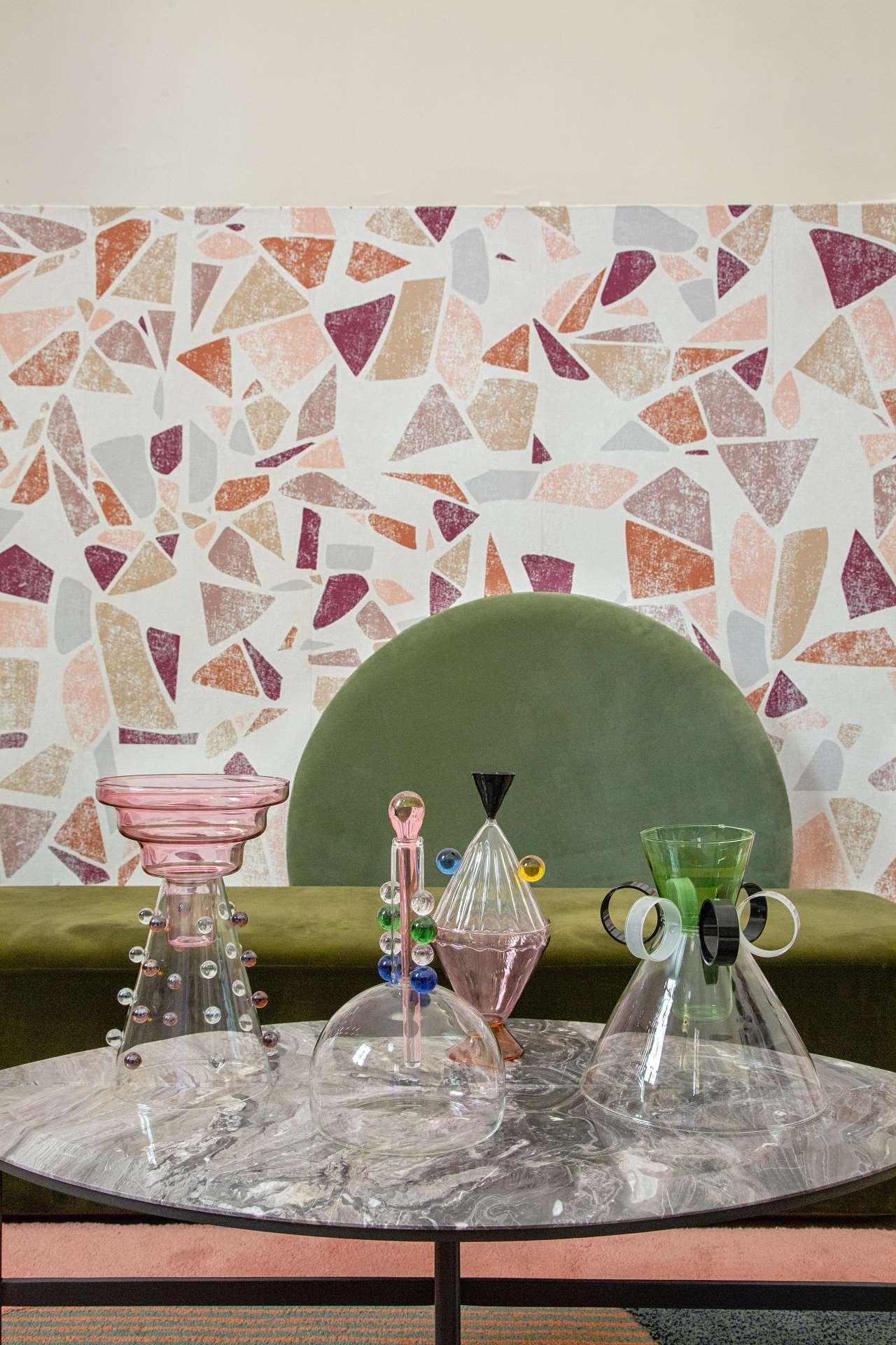 EDIT Napoli exhibition view, 'Arabesque' series of glass vases by Serena Confalonieri, part of Pamono installation. Photo © Roberto Pierucci.