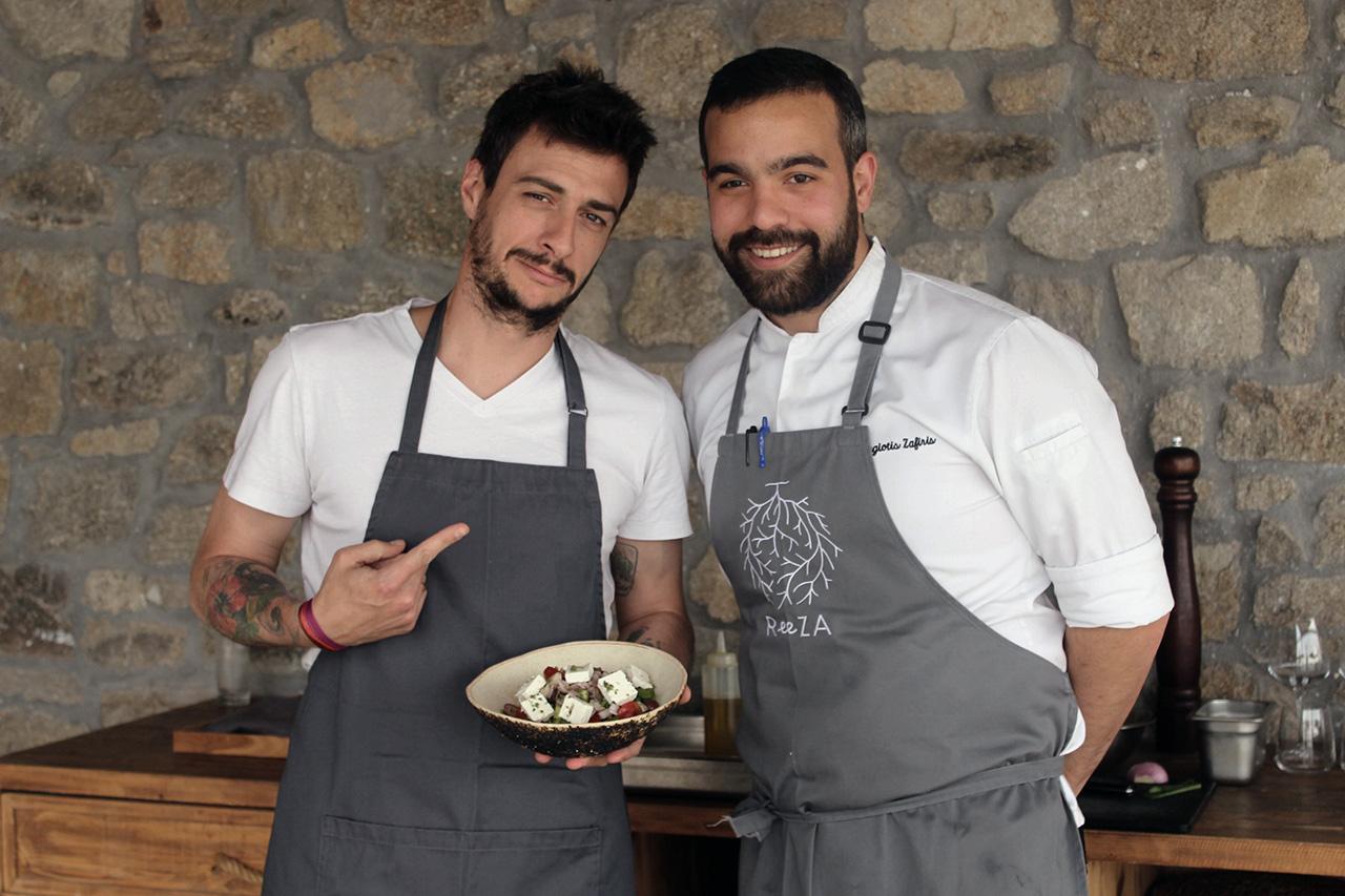 Head in-house Chef Panagiotis Zafeiris (right) with customer Tasos Mpithas (left). Photo byMyrto Kazi.