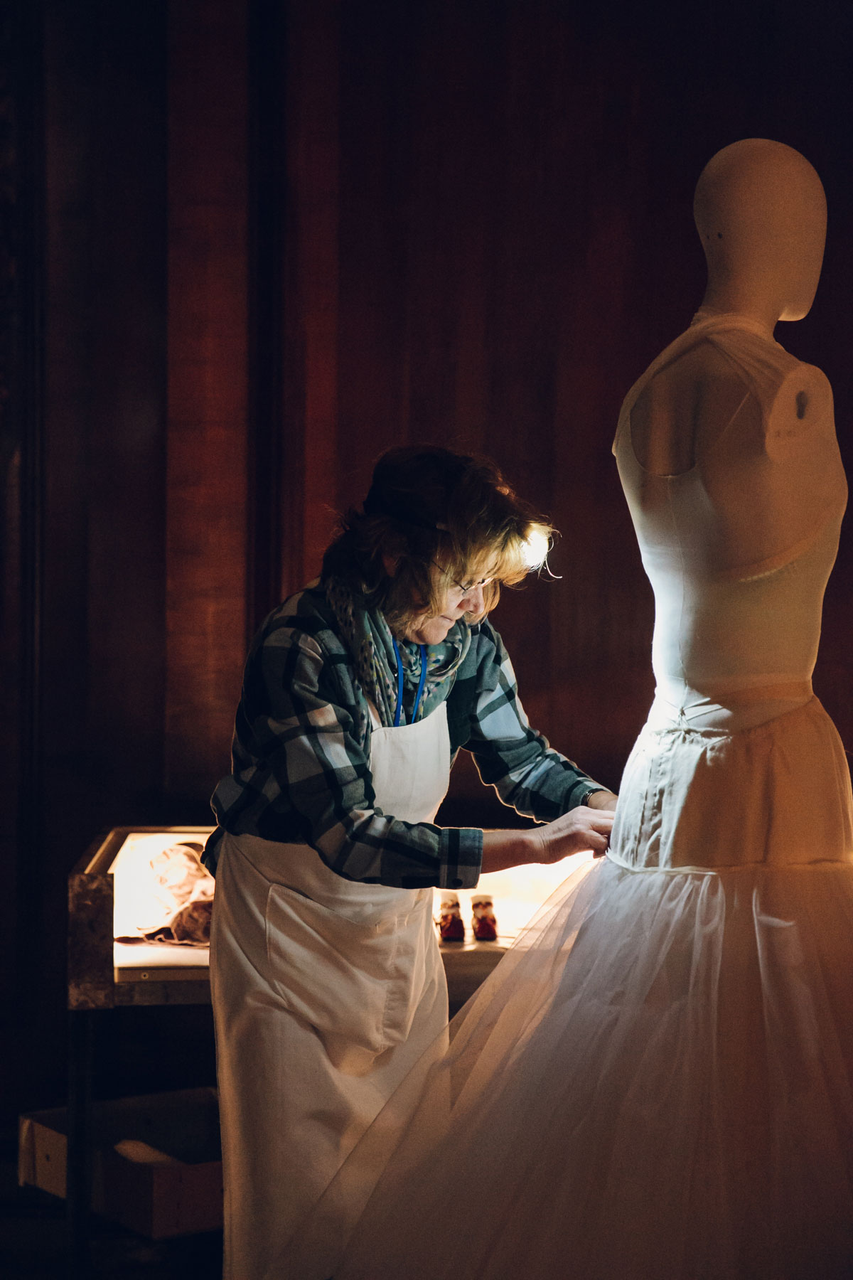 """Themaking of """"House Style: Five Centuries of Fashion at Chatsworth"""" exhibition.Photo©Chatsworth House Trust."""