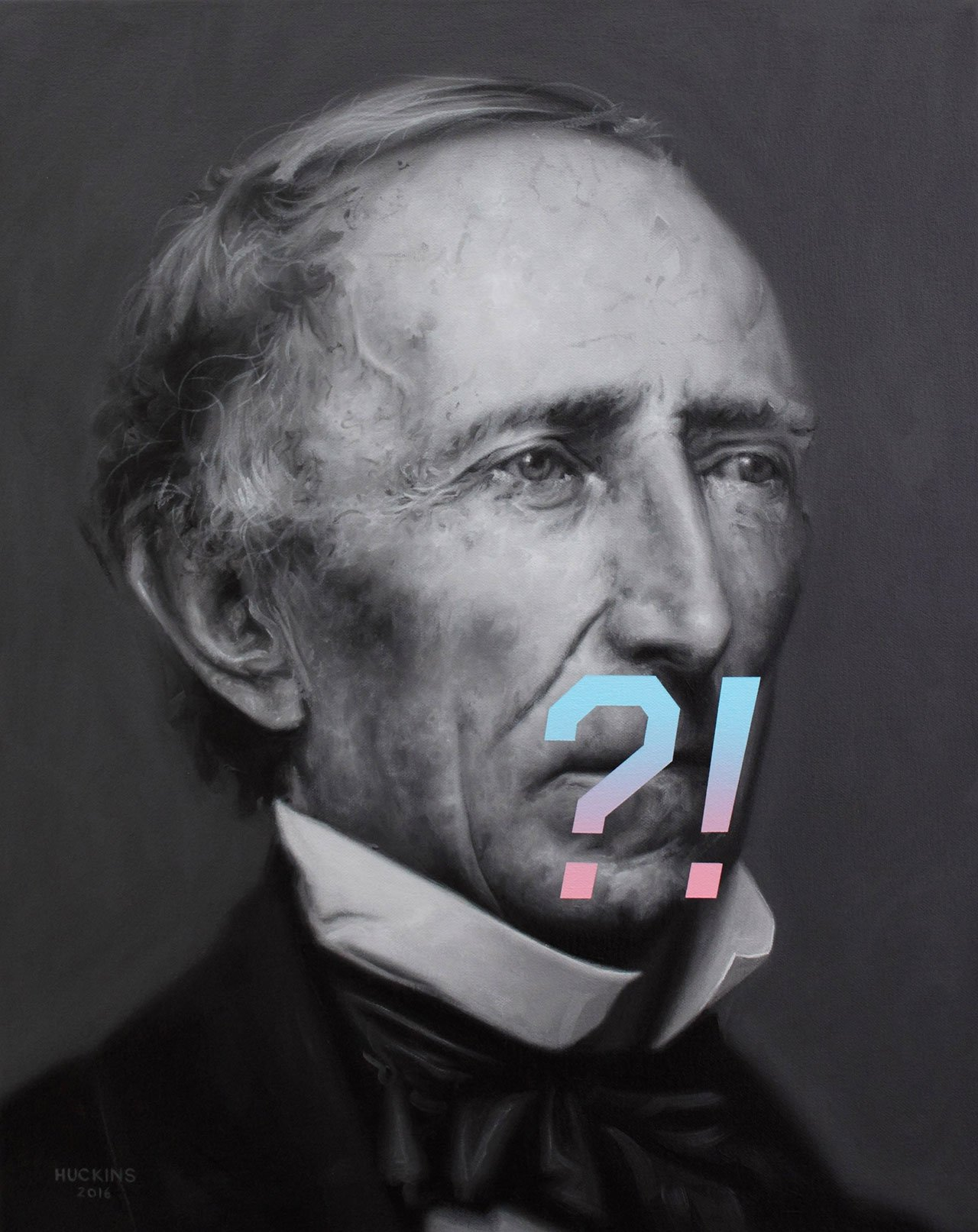 Shawn Huckins, John Tyler's Expression Of Surprise, Confusion, or Shock, acrylic on canvas, 20 x 16 in (51 x 41 cm), 2016.