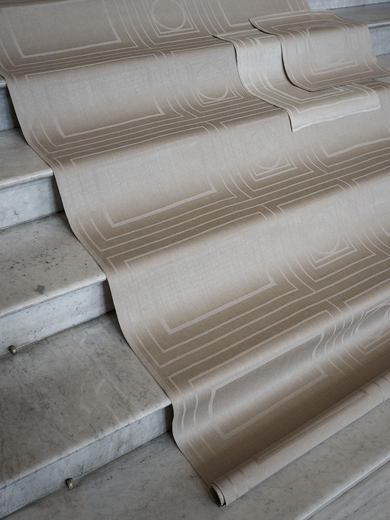 "NM& 065, NM& 066: ""Husets Linne"" linnen table cloths and napkins by Jakob Solgrenproduced by Klässbols Linneväveri. Photo by Pia Ulin."