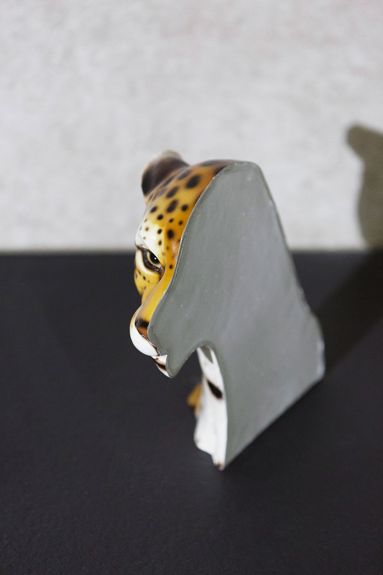 "Nucleo (Piergiorgio Robino + Marzia Ricci), ""Boolean"" Or  (Cheetah), 2017. Cut on vintage ceramic sculpture, 33 x 11 x 30h cm. Unique piece. Photo by Studio Pepe Fotografia."