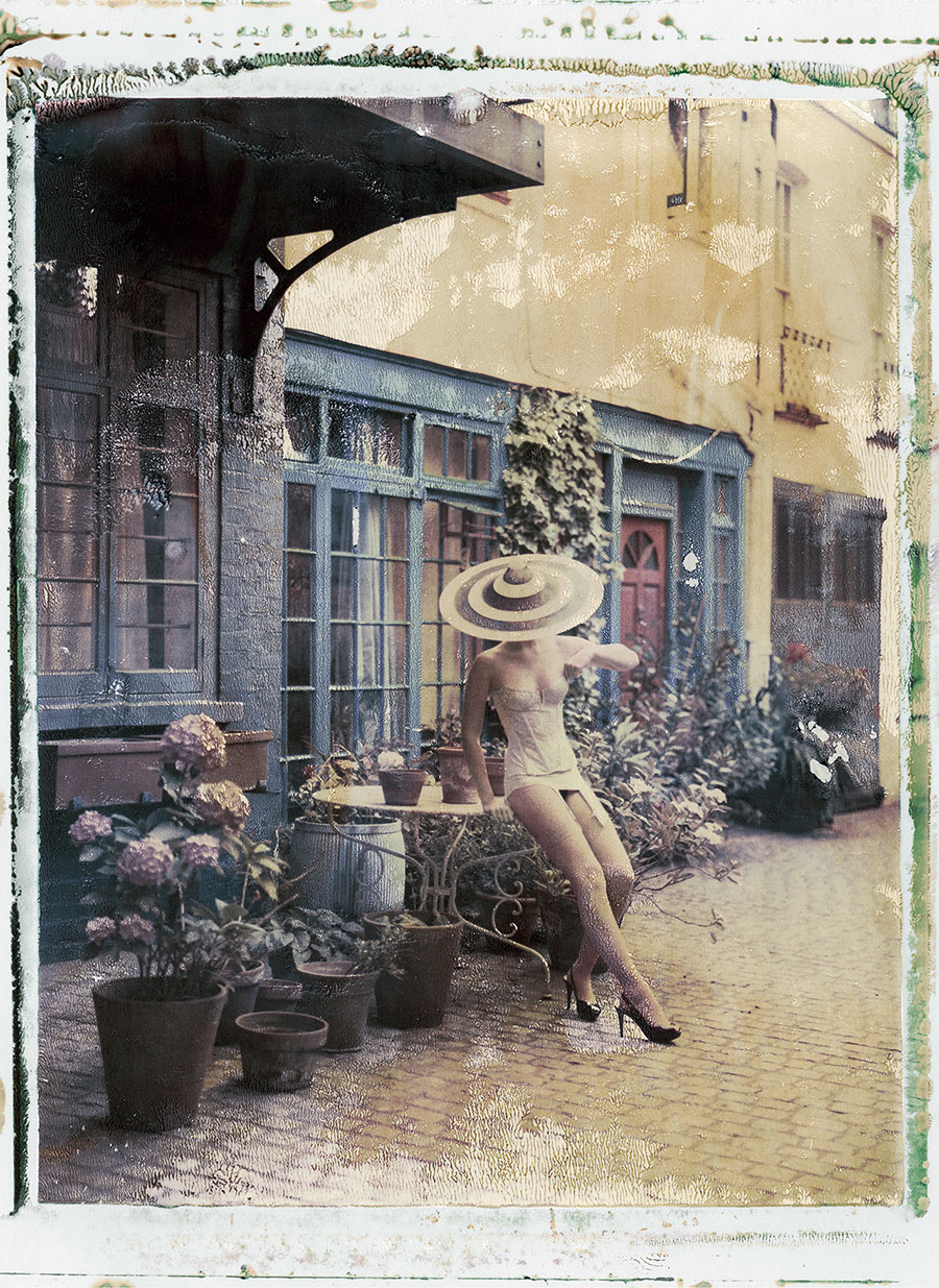 """Cathleen Naundorf """"4pm in London"""" Philip Treacy (hat),Cadolle (lingerie), Color-print from original polaroid, 2009."""