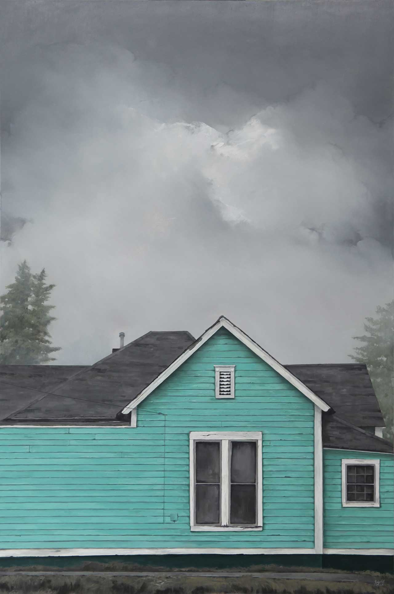 "Adam Hall,Blue Collar Dreams, 24"" x 36"", oil on panel. CourtesyRobert Lange Studios and the artist."
