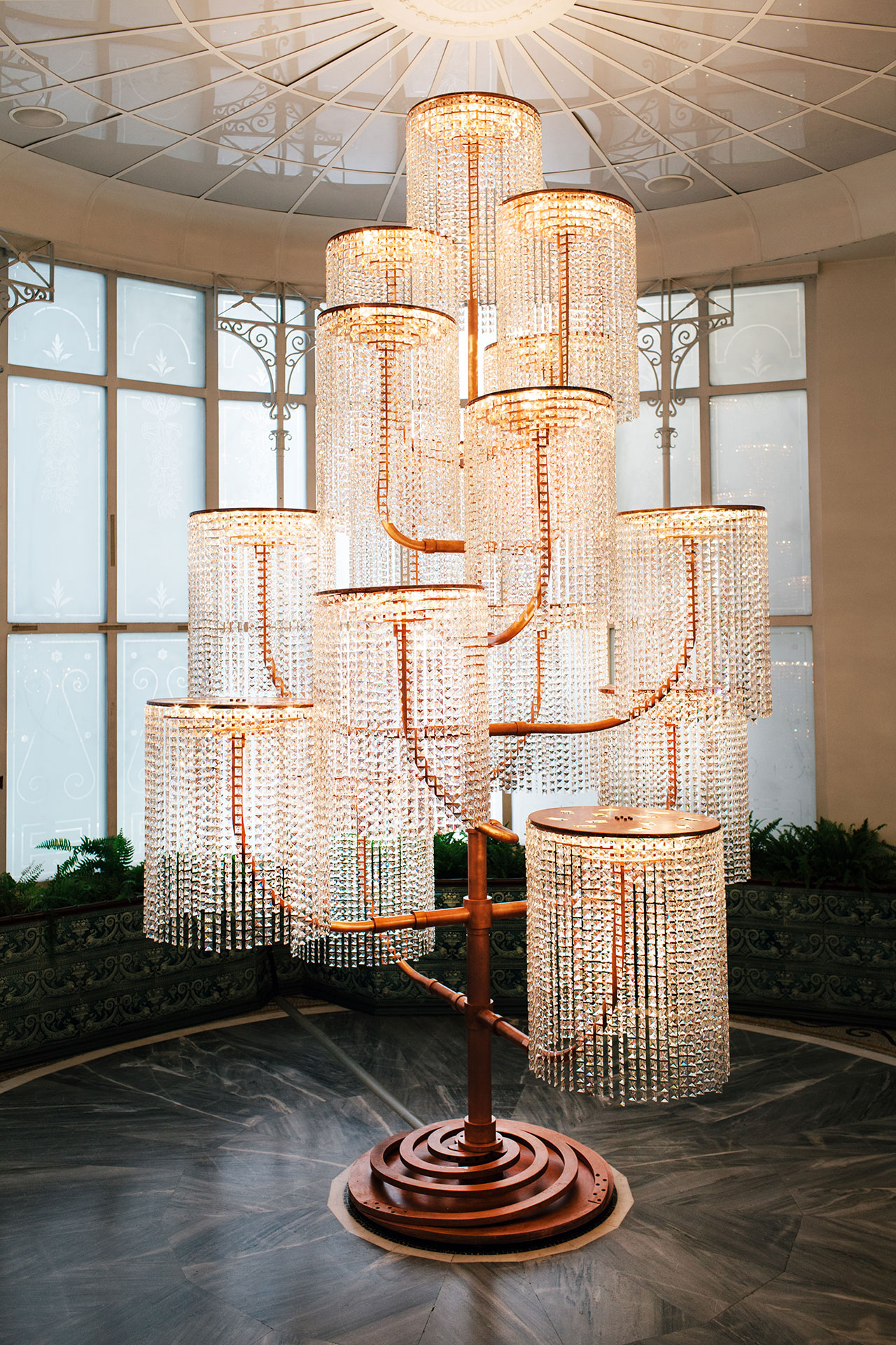 Chandelier, 2015. Copper, crystal and light fixtures, 400 x 240 x 230 cm. Photo by Paris Tavitian © Museum of Cycladic Art.