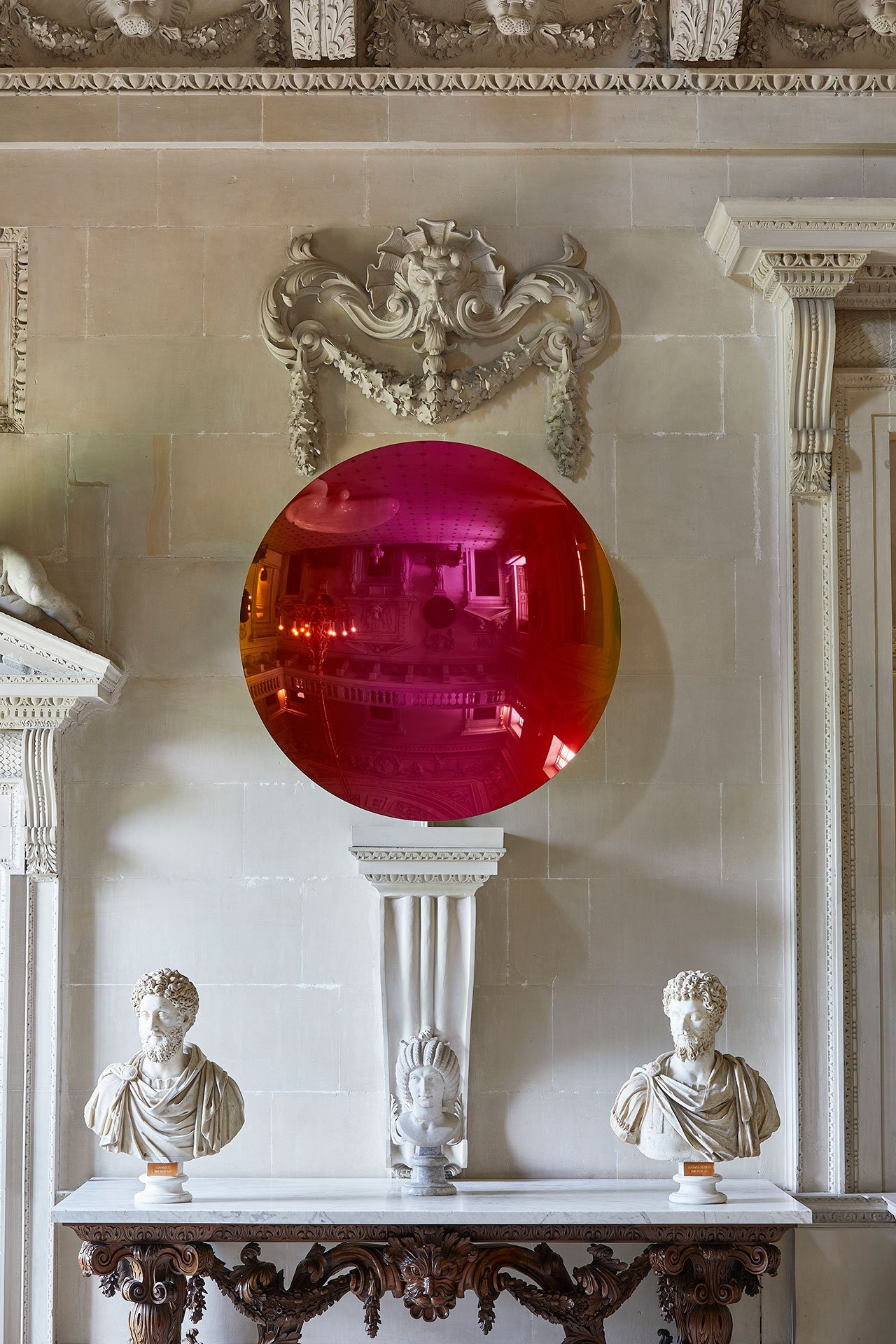 Exhibition view, Anish Kapoor at Houghton Hall. © Anish Kapoor. All rights reserved DACS, 2020. Photo by Pete Huggins. Featured: Spanish and Pagan Gold to Magenta, 2018. Courtesy the artist and Lisson Gallery.