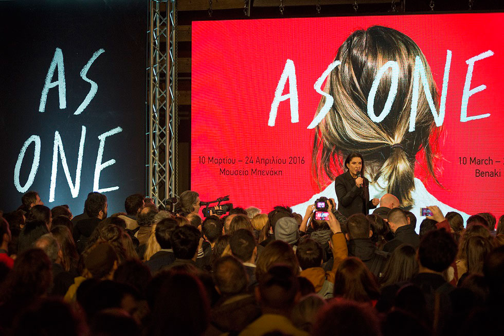 Marina Abramovic addressing the audience at the opening of AS ONE. Photo by Panos Kokkinias.