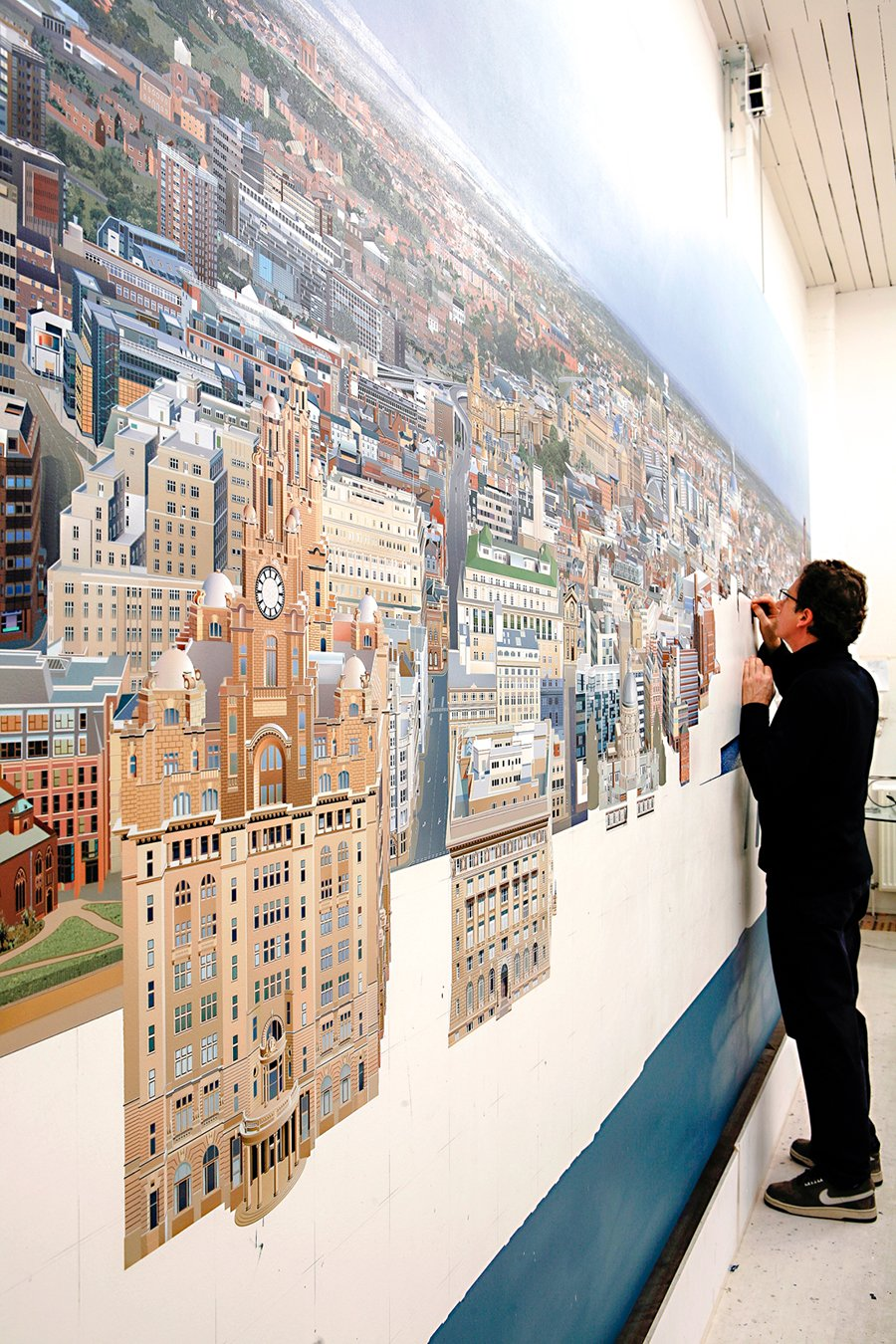 Ben Johnson The Liverpool Cityscape (progress) 2008 Acrylic on canvas 96 x 192in / 244 x 488cm. Photo courtesy of the artist.