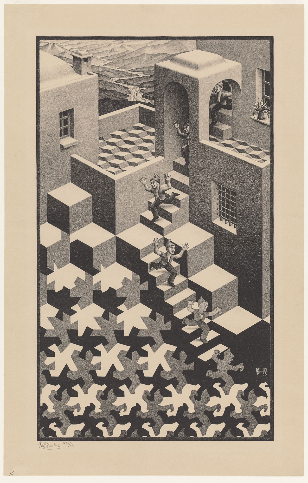 M. C. Escher, Cycle, May 1938, lithograph. Escher Collection, Gemeentemuseum Den Haag, The Hague, the Netherlands© The M. C. Escher Company, the Netherlands. All rights reserved.