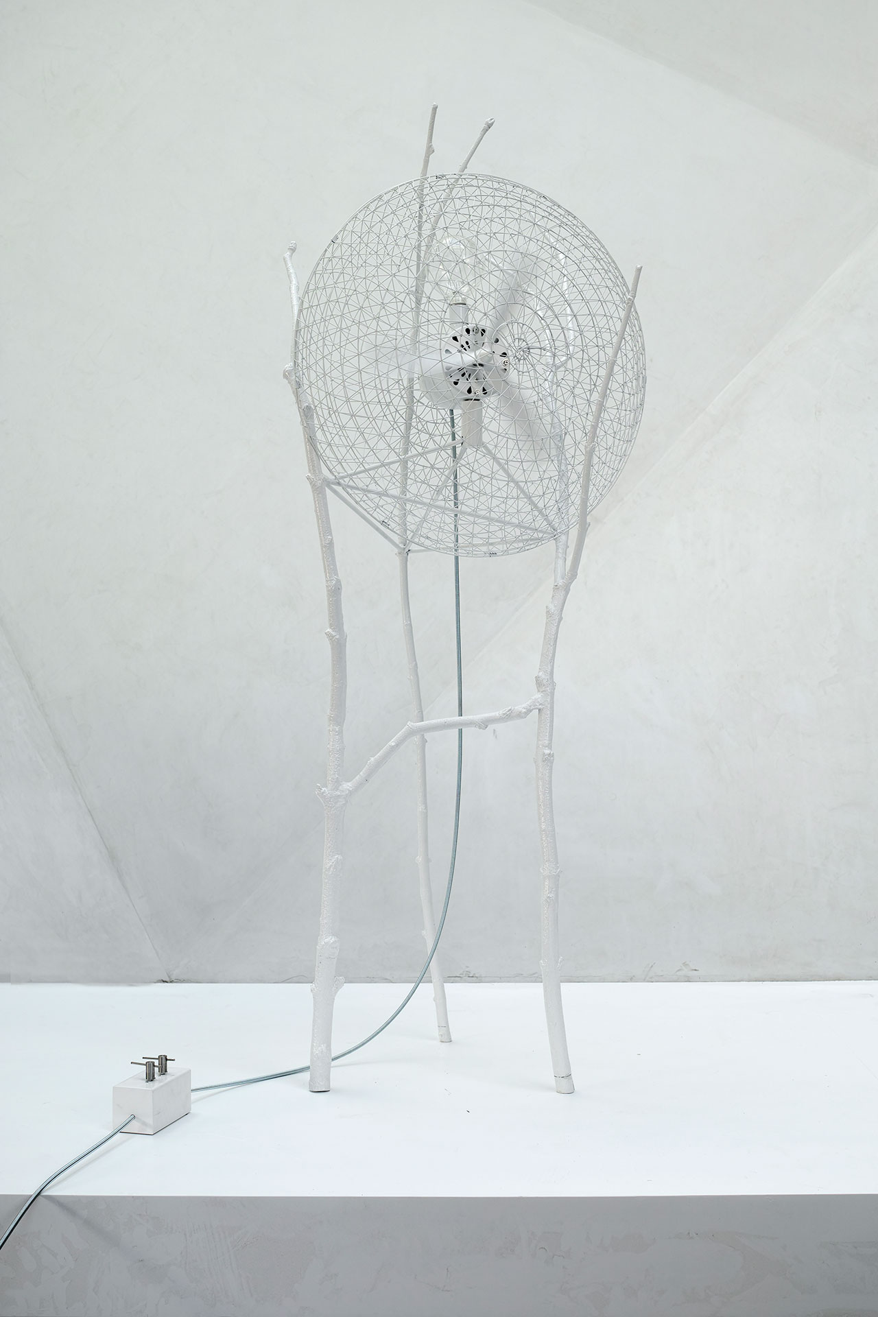 SURVIVAL KIT by Celine & Tatiana Stephan. Powder Coated White Aluminum, 115 x 100 x 205 cm.