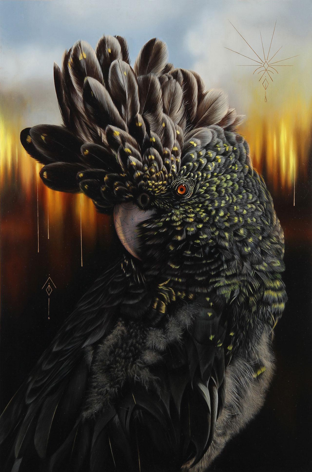 Josie Morway, Consumed,oil and enamel on wood panel. ©Josie Morway.