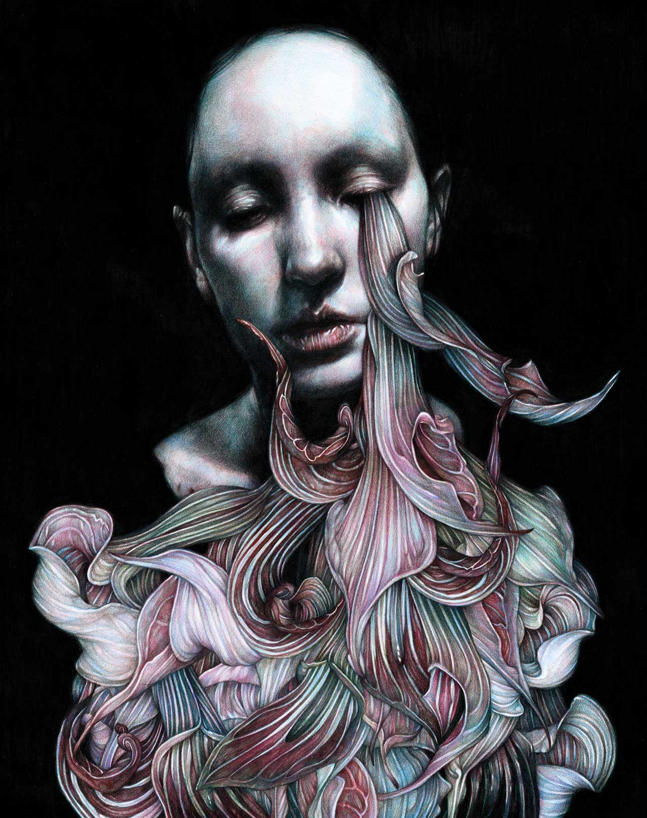 Marco Mazzoni, Madre, 2016. Colored pencils on paper, 48 x 38cm © Marco Mazzoni.