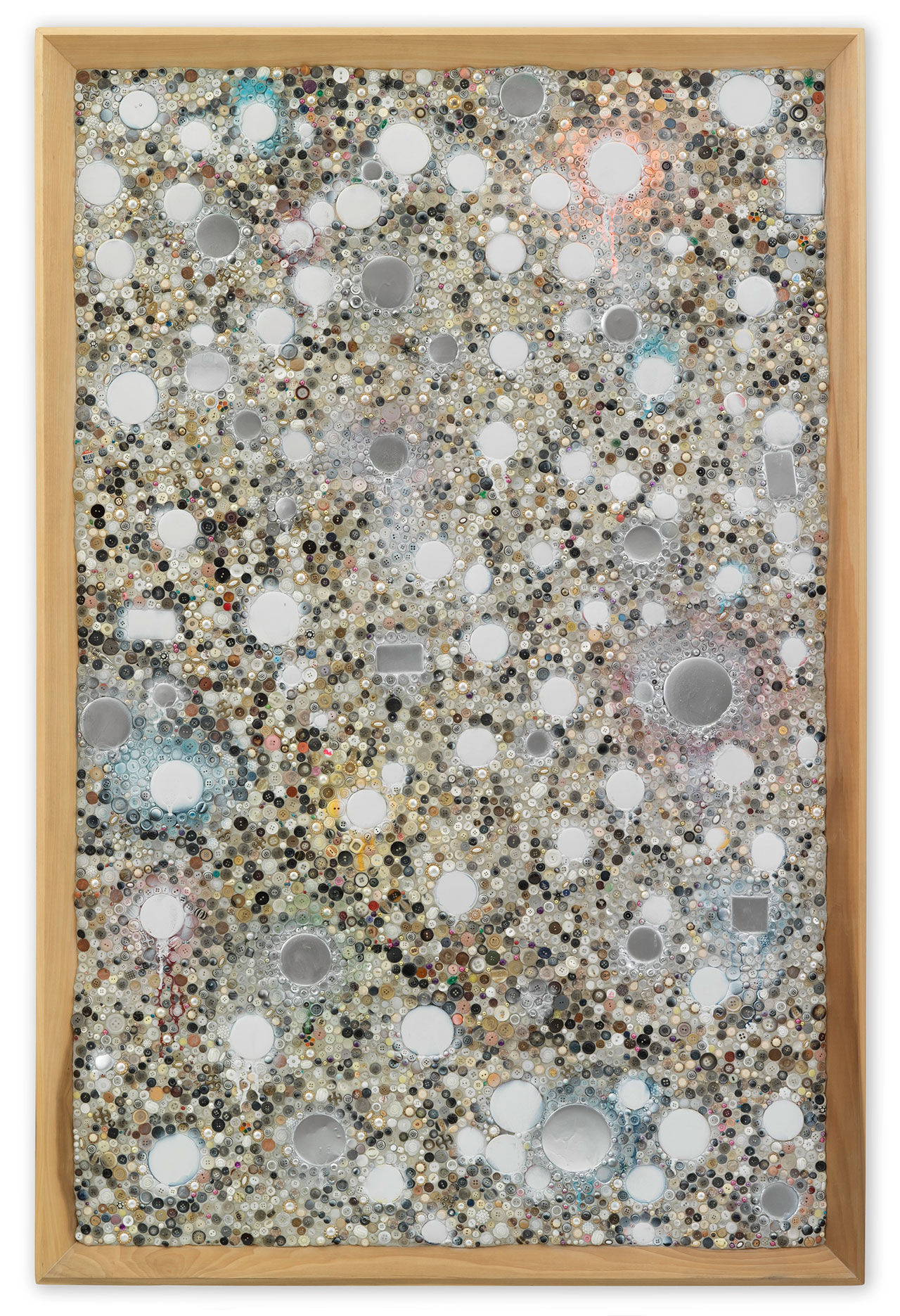 Mike Kelley, Memory Ware Flat #27, 2001. Mixed media on wood panel. 178 x 117.3 x 10 cm / 70 1/8 x 46 1/8 x 3 7/8 in. Art © Mike Kelley Foundation for the Arts. All Rights Reserved / Licensed by VAGA, New York, NY. Private Collection. Courtesy the Foundation and Hauser & Wirth. Photo by Stefan Altenburger Photography Zürich.