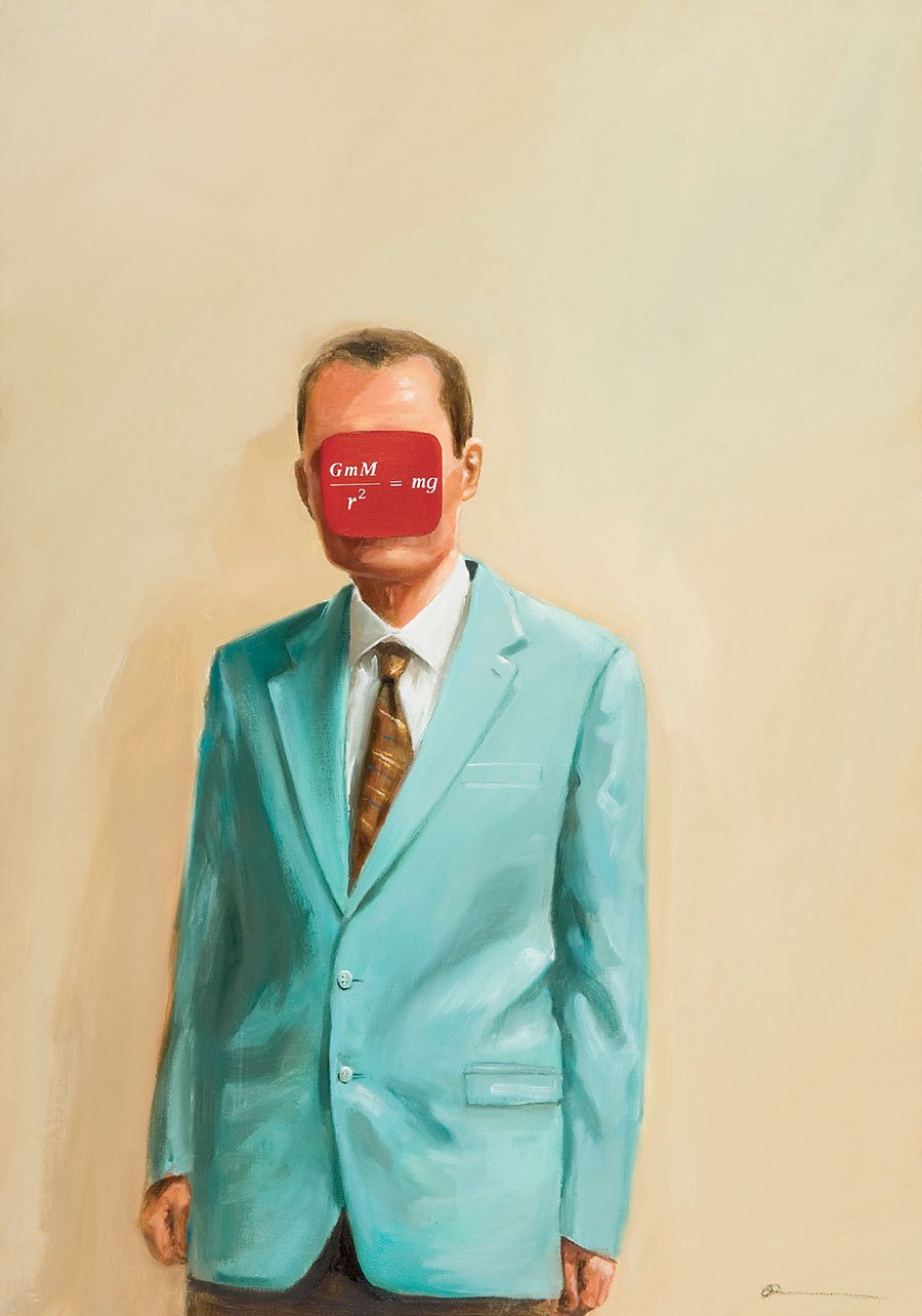 "THE WEIGHT OF THE WORLD 2006oil and vinyl on canvas 39"" x  27 1/2"" © Oliver Jeffers."
