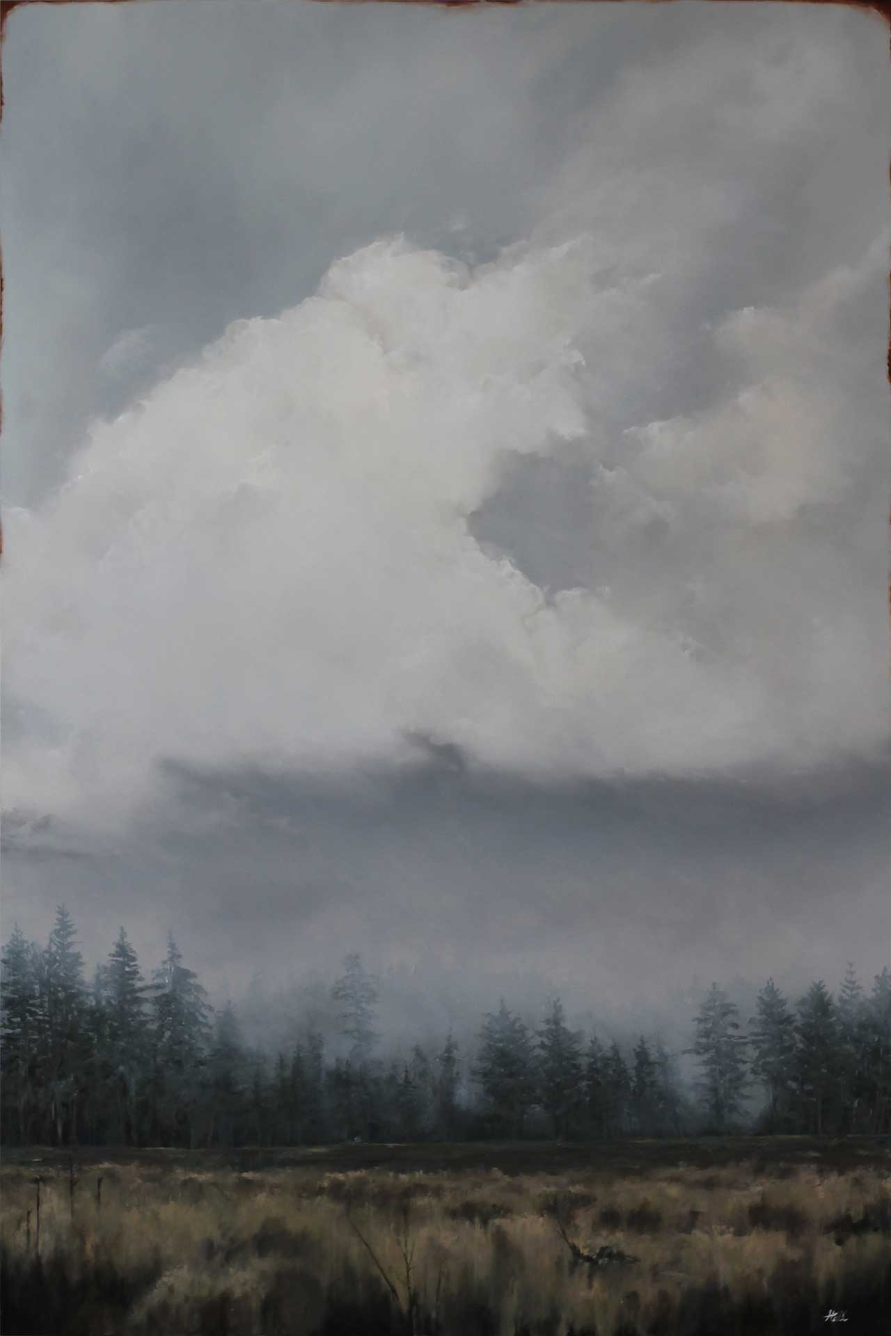 """Adam Hall,Cold Answer, 24"""" x 36"""", oil on panel. CourtesyRobert Lange Studios and the artist."""