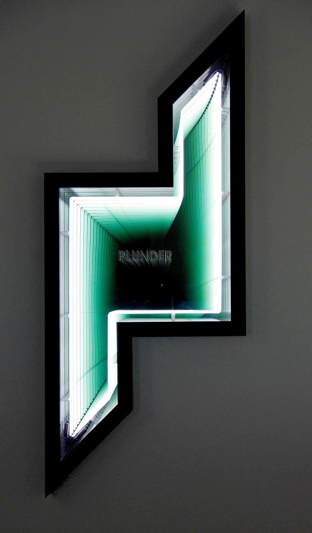 Ivan Navarro, Plunder (Dubai Towers - Doha), 2011.Neon , wood, paint , Plexiglas , mirror, two-way mirror and electricity, 249 x 103 x 18 cm. Photo courtesy Galerie Templon, Paris and Brussels.