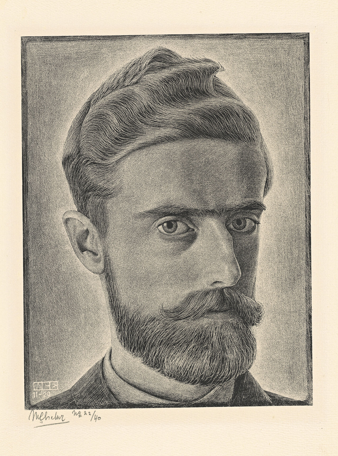 M. C. Escher, Self-portrait, November 1929, lithograph. Escher Collection, Gemeentemuseum Den Haag, The Hague, the Netherlands © The M. C. Escher Company, the Netherlands. All rights reserved.