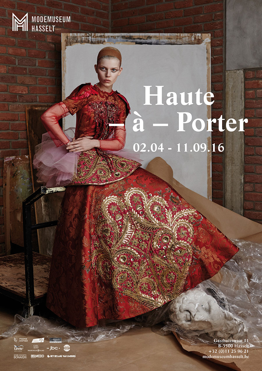 Haute-à-Porter Expo Cover, René Habermacher, photographer / Filep Motwary, curator & fashion editor Ola Rudnicka, model /dress by Christian Lacroix Haute Couture FW2002 / Panos Papandrianos, hair stylist / Yannis Siskos, make-up artist / Thibault Della Gaspera, film / Eve Demoen, production manager / Kenneth Ramaekers, project director / Sebastien Meulenberg, light assistant / Karim Nuyttens, digital assistant / Dimitris Rigas, retouching. Thanks to: Stedelijke Academie voor Schone Kunsten, Hasselt, Versae Vanni Next Model Management Paris, Darek Kumosa Modelplus Warsaw, Antoine Asseraf The Stimuleye , Modemuseum Hasselt © 2016.