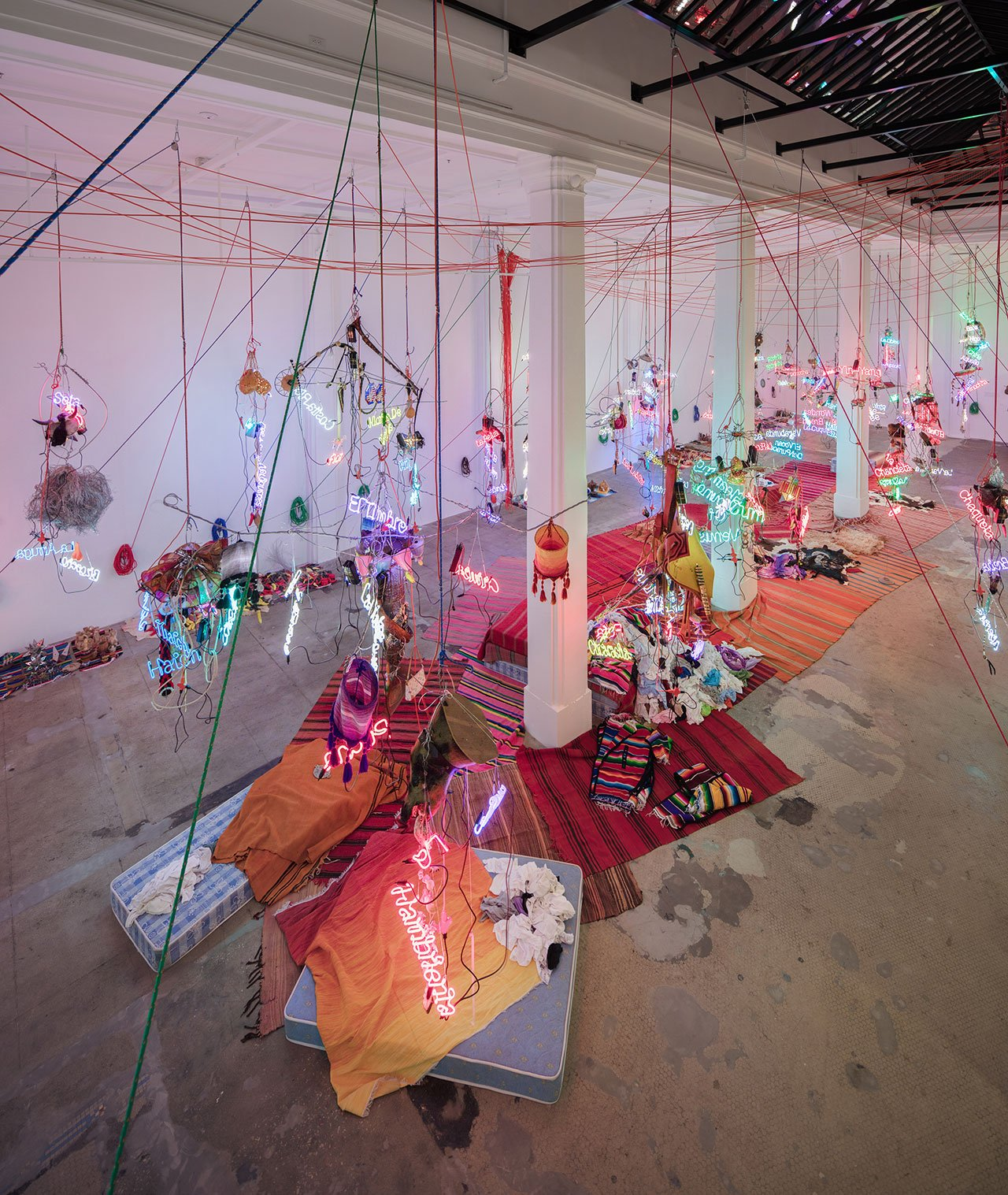 Jason Rhoades,  Tijuanatanjierchandelier, 2006.  Mixed media. Dimensions variable. Installation view, 'Jason Rhoades. Installations, 1994 – 2006', Hauser & Wirth Los Angeles, 2017. © The Estate of Jason Rhoades. Courtesy the estate, Hauser & Wirth, David Zwirner and lender. Photo by Fredrik Nilsen.