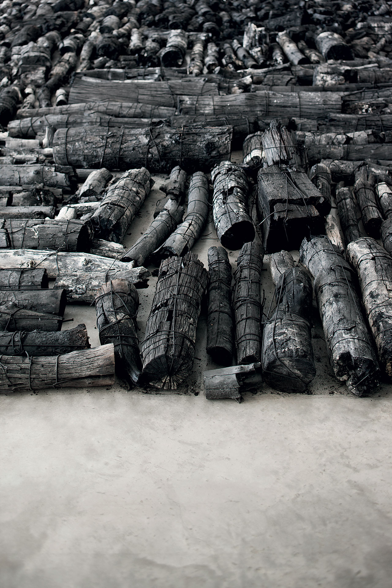 Landscape. Burnt tree trunks, 18 x 16 m (detail). Installation view at the Daegu Art Museum in 2014. Photo © PARK Myung-Rae. / © Lee Bae.