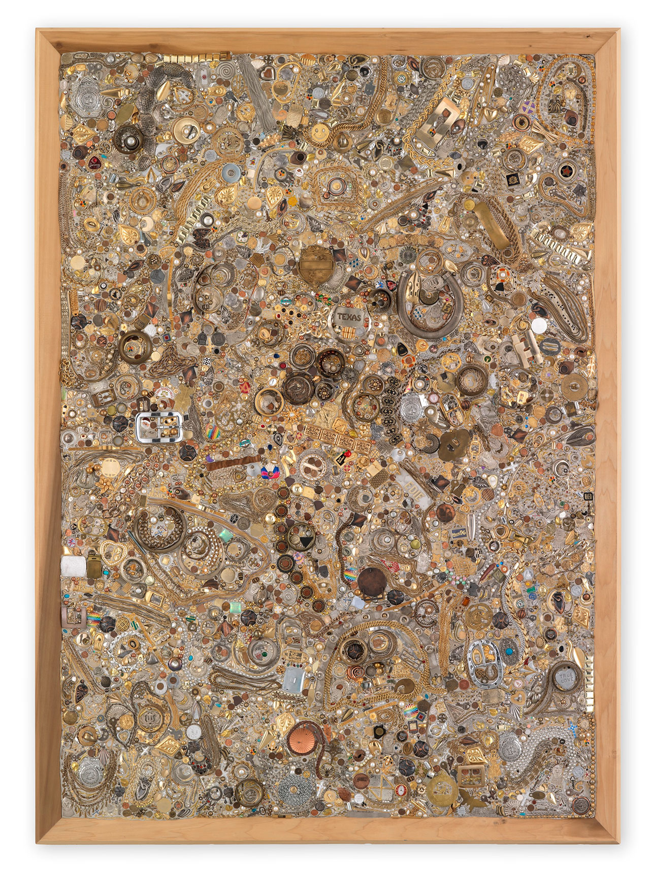 Mike Kelley, Memory Ware Flat #24, 2001. Mixed media on wood panel. 215.5 x 154 x 11.8 cm / 84 7/8 x 60 5/8 x 4 5/8 in. Art © Mike Kelley Foundation for the Arts. All Rights Reserved / Licensed by VAGA, New York, NY. Private Collection. Courtesy the Foundation and Hauser & Wirth. Photo by Stefan Altenburger Photography Zürich.