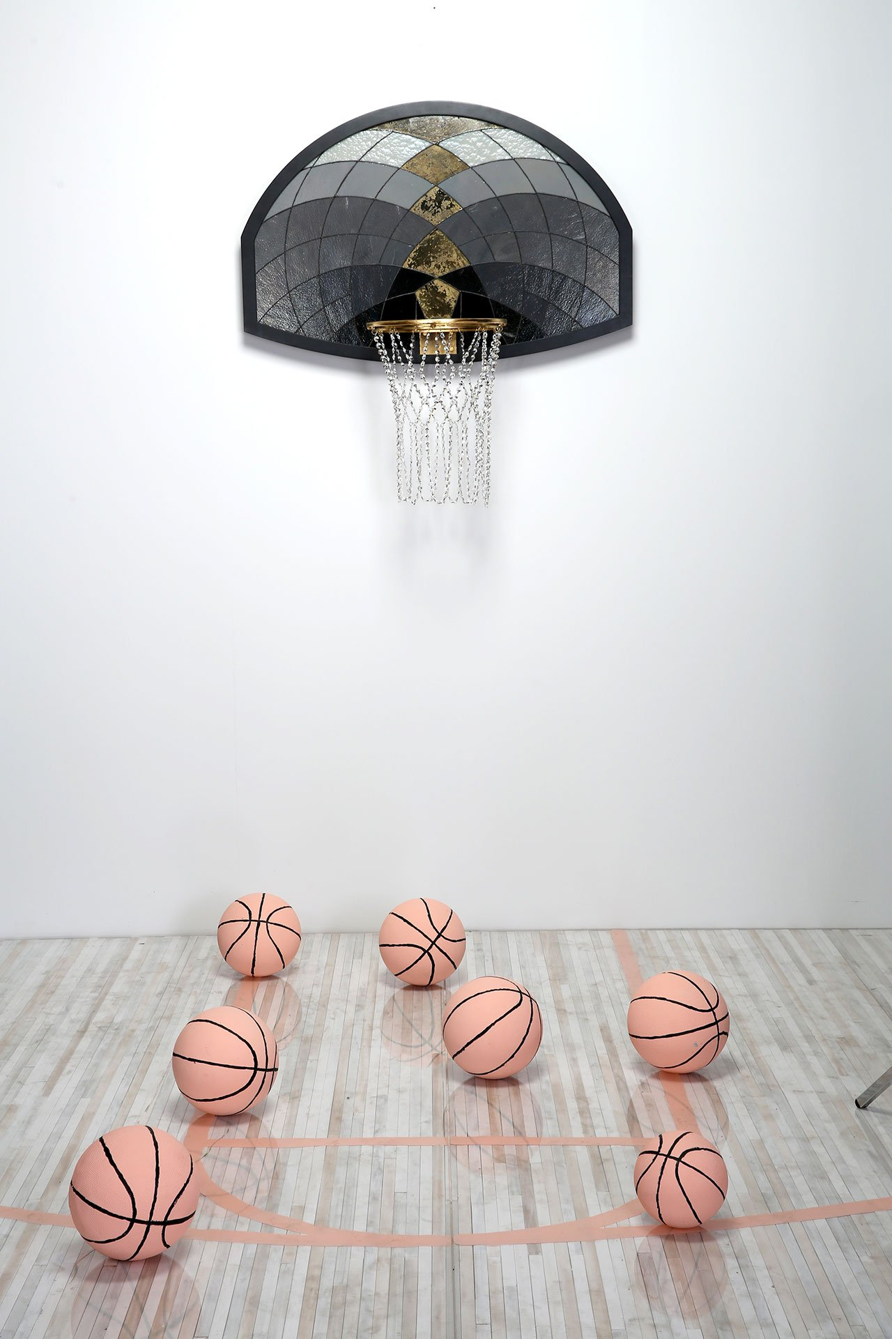 Literally Balling, We Skrong Then, 44 x 40 x 20 in. Glass, mirror, lead, 24k gold-plated high polish steel, wood, Swarovski crystal. Photo courtesy Victor Solomon.