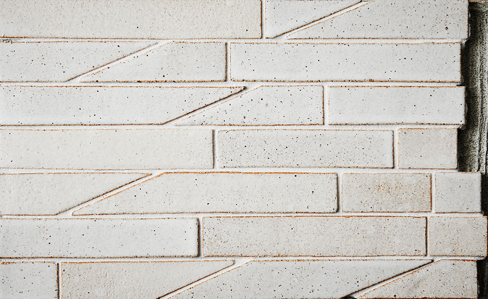 200 Cut Series Tile, Speckled white glaze finish. Photo by Liza Cohen.