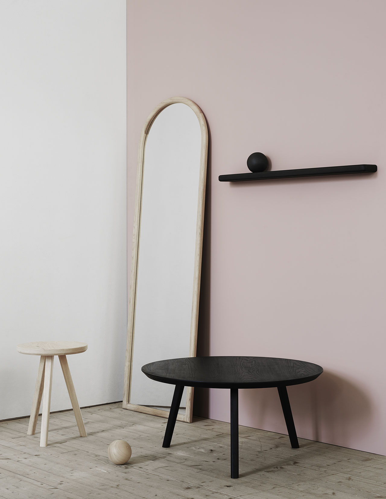 Mirror ash, Stool ash, Coffee table black ash, Orb ash and Shelf magazine Rack black ash all from Melo. Photo by Kristofer Johnsson.
