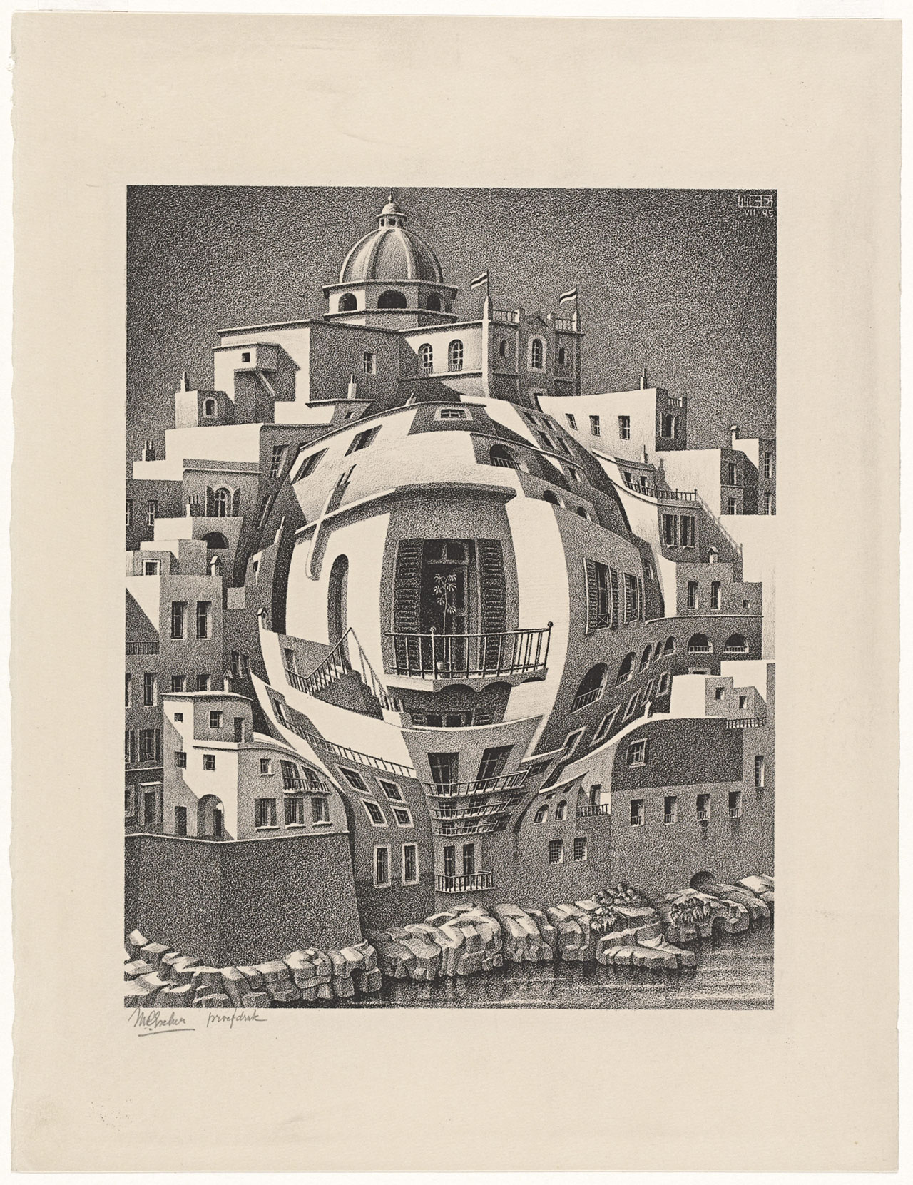 M. C. Escher, Balcony, July 1945, lithograph. Escher Collection, Gemeentemuseum Den Haag, The Hague, the Netherlands © The M. C. Escher Company, the Netherlands. All rights reserved.