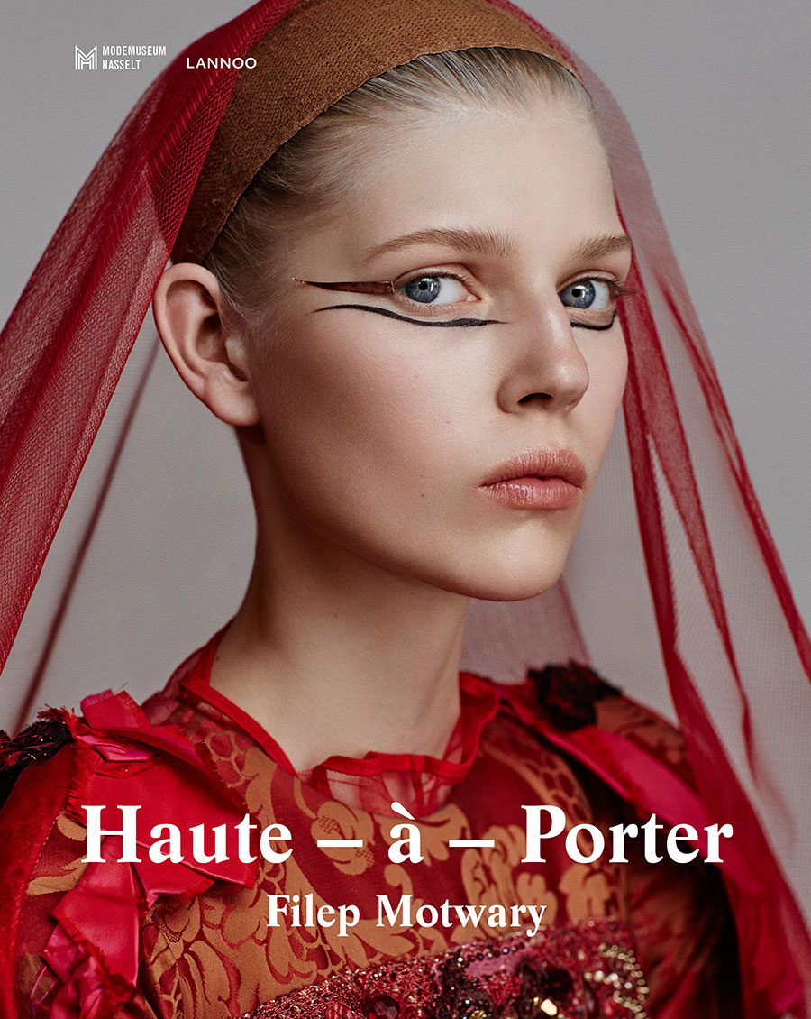 Haute-à-Porter book cover, René Habermacher, photographer / Filep Motwary, curator & fashion editor Ola Rudnicka, model /dress by Christian Lacroix Haute Couture FW2002 / Panos Papandrianos, hair stylist / Yannis Siskos, make-up artist / Thibault Della Gaspera, film / Eve Demoen, production manager / Kenneth Ramaekers, project director / Sebastien Meulenberg, light assistant / Karim Nuyttens, digital assistant / Dimitris Rigas, retouching. Thanks to: Stedelijke Academie voor Schone Kunsten, Hasselt, Versae Vanni Next Model Management Paris, Darek Kumosa Modelplus Warsaw, Antoine Asseraf The Stimuleye , Modemuseum Hasselt © 2016.