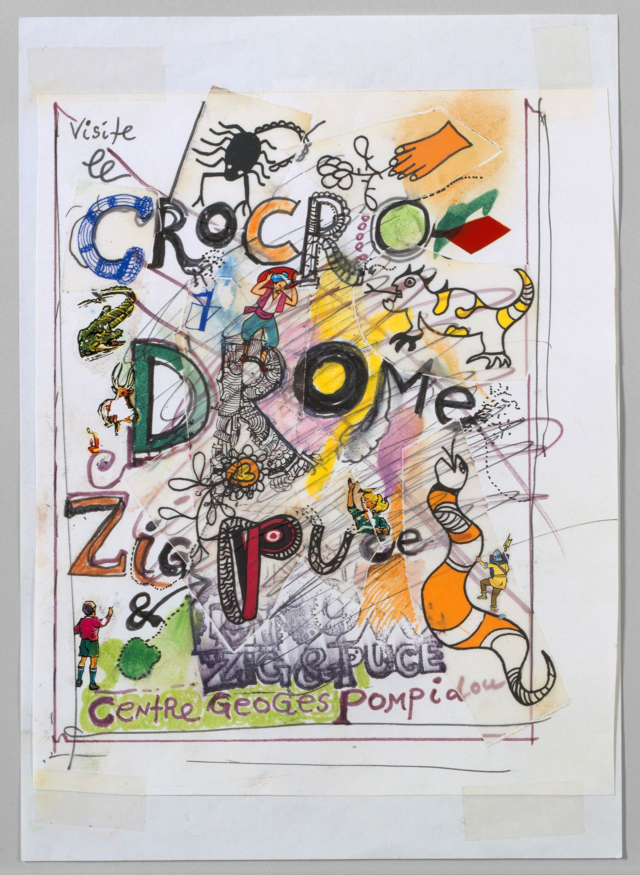 Jean Tinguely, poster design for Visite le Crocrodrome - Zig & Puce, Centre Georges Pompidou, Paris, 1977. Collection Museum Tinguely Basel - a cultural commitment of Roche, c/o Pictoright Amsterdam, 2016.