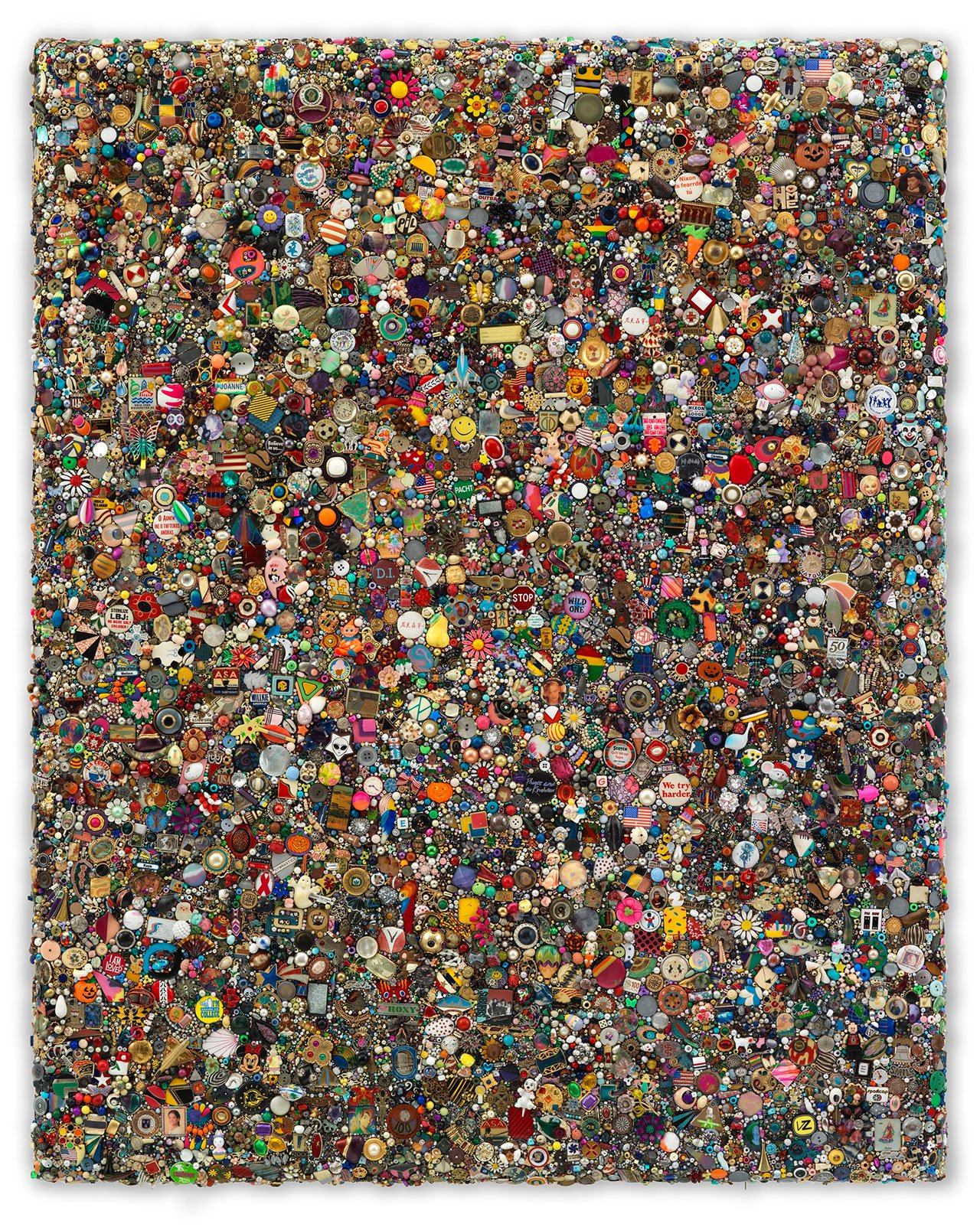 Mike Kelley, Memory Ware Flat #58, 2009. Mixed media on wood panel. 128.5 x 112.2 x 10.5 cm / 50 5/8 x 44 1/8 x 4 1/8 in. Art © Mike Kelley Foundation for the Arts. All Rights Reserved / Licensed by VAGA, New York, NY. Private Collection. Courtesy the Foundation and Hauser & Wirth. Photo by Stefan Altenburger Photography Zürich.