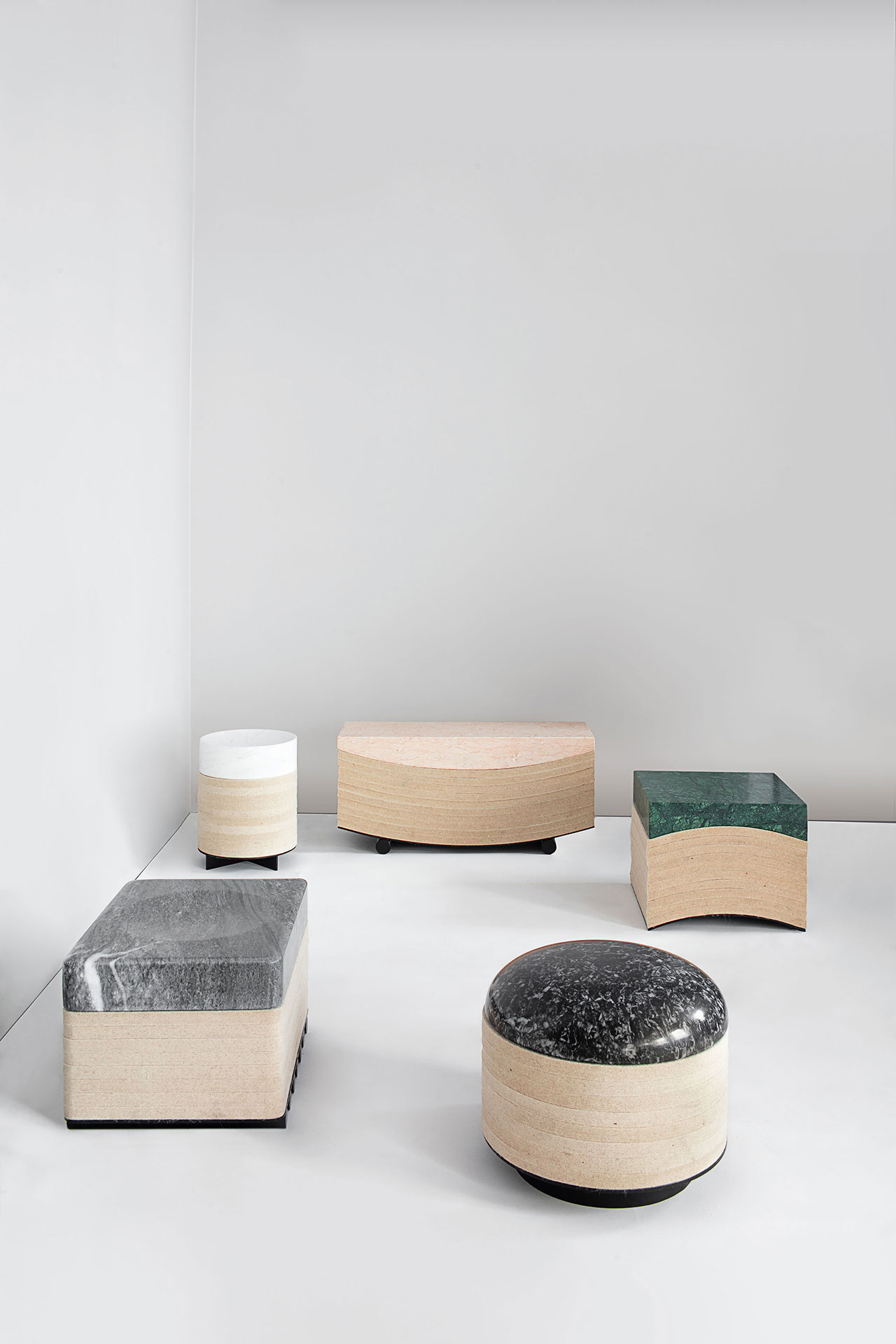 Objects of Common Interest, Layer Stools, 2016. Marble, Wool Felt, Steel. Photo by Matthieu Salvaing.