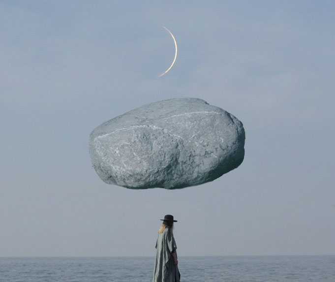 'Magritte Morphism'. Photo collage inspired by René Magritte. © Petecia Le Fawnhawk.