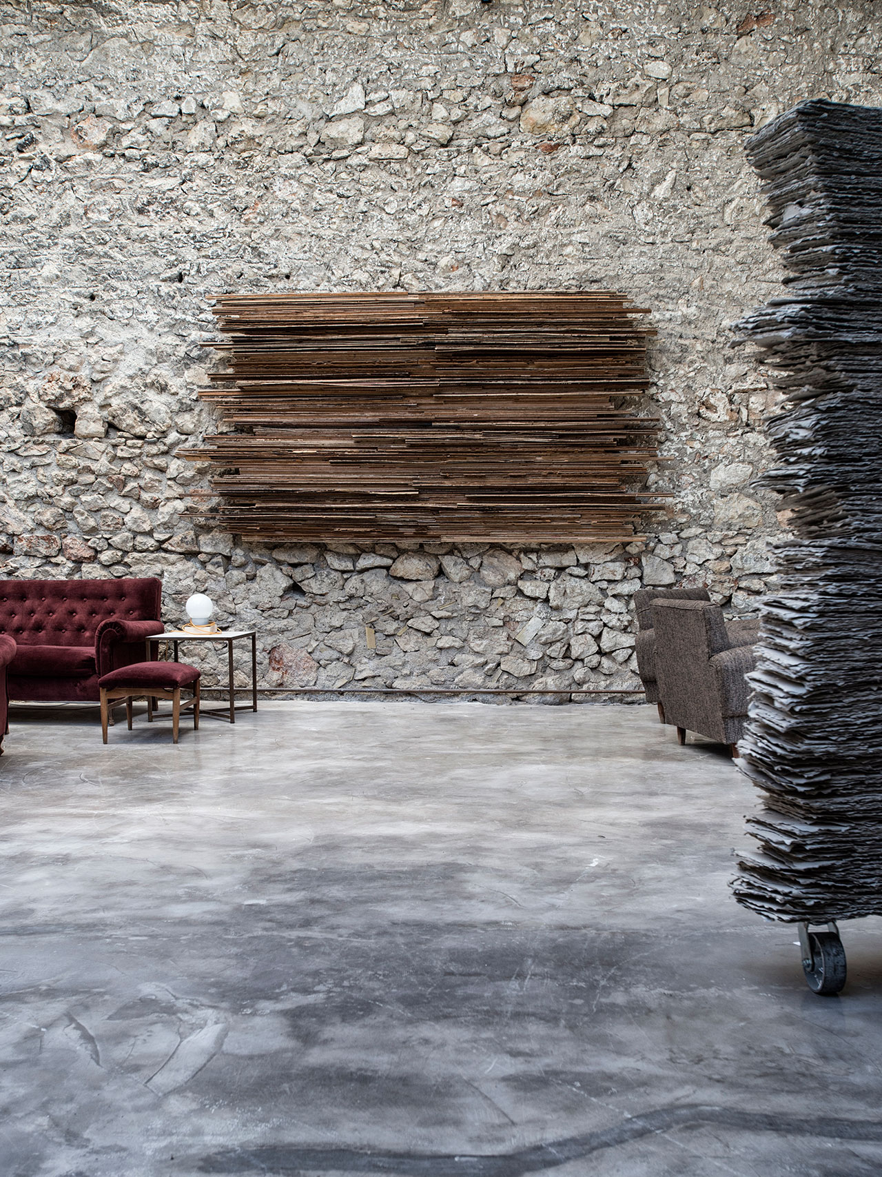 Kornelios Grammenos, Sarmata, 2008, plywood, 245x160cm. Installation view. Pirée, Piraeus, Greece. Styling by Costas Voyatzis, photo by Kosmas Koumianos for Yatzer.com, © Pirée, 2016.