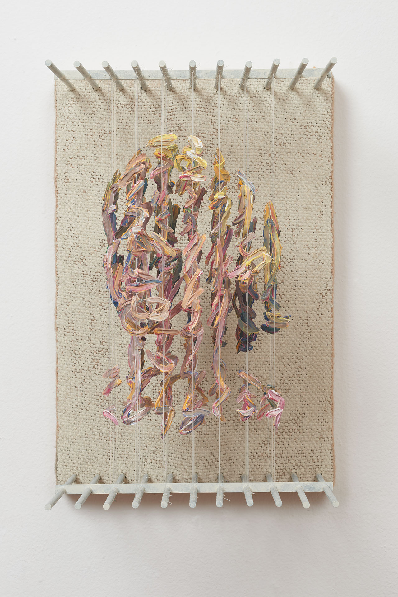 Chris Dorosz, o.h.s, 2017. Acrylic paint on monofilament, metal, jute on board,14 H x 9.25 W x 11D inches. Photo courtesy of Muriel Guépin and the artist.