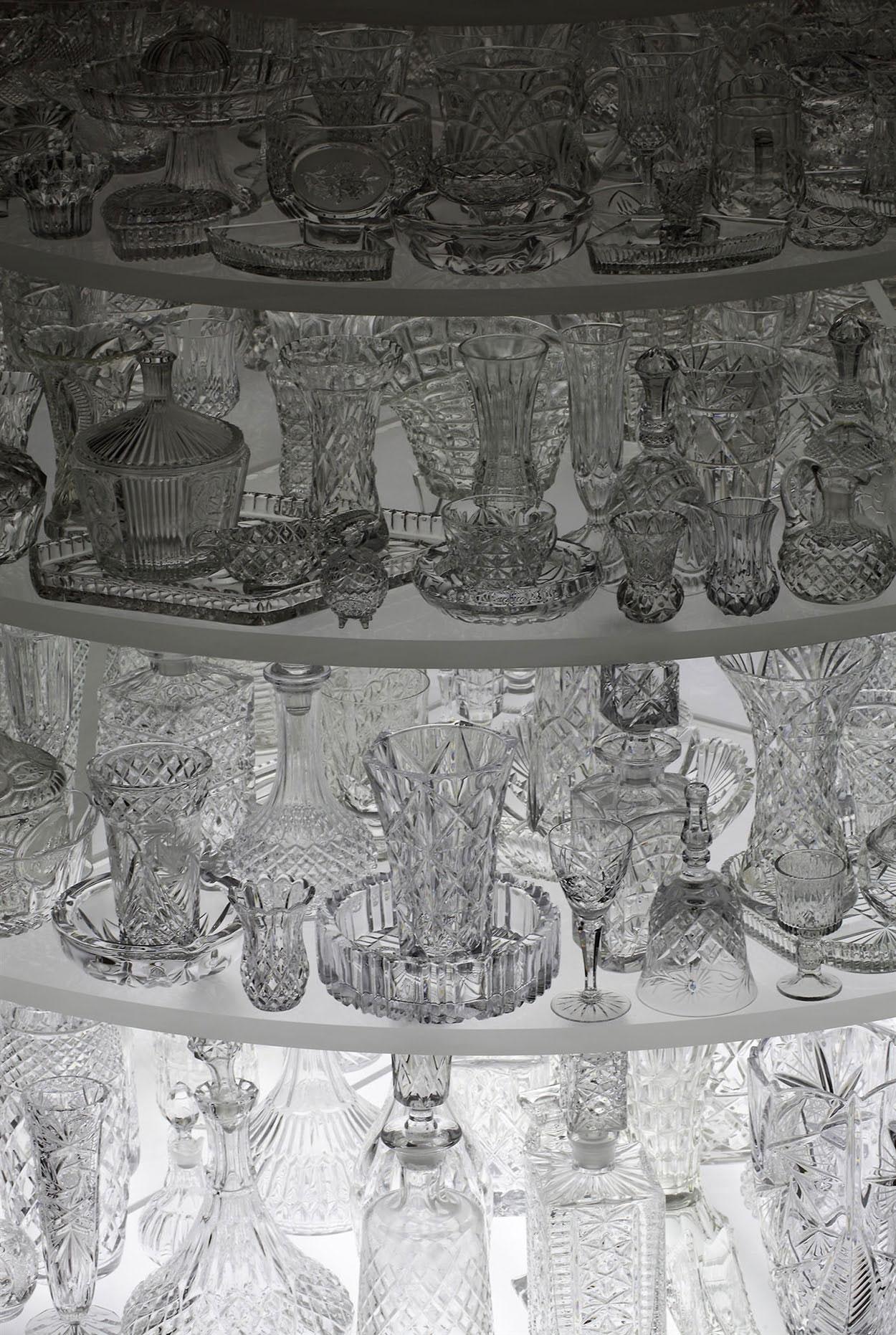Stuart Haygarth, Igloo, 2011. LED lighting, clear crystal glassware, Perspex. Photo courtesy Carpenters Workshop Gallery.