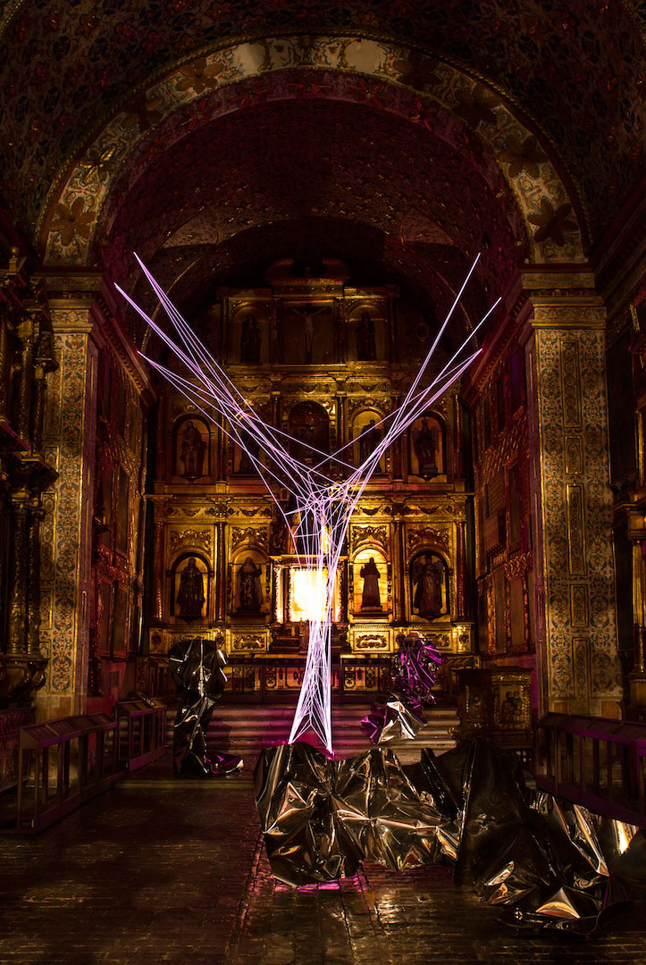 Aldo Chaparro, Portal. Stainless steel and electroluminescent wires installation. 2013. Installation view at the Church of Santa Clara in Bogotá, Colombia. Photo by Manuel Velazquez, courtesy PEANA Projects.
