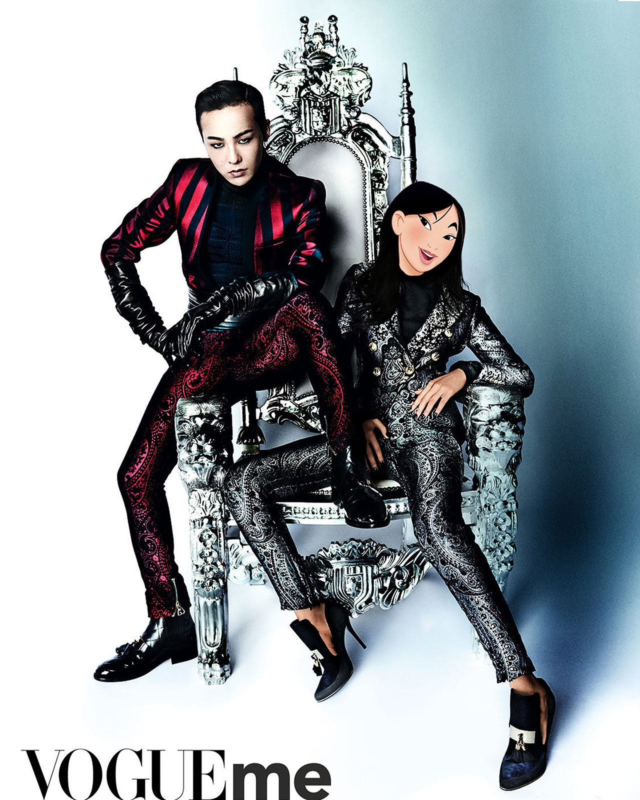 Bella Hadid as Mulan and G-Dragon in Balmain for Vogue China and Vogue Me from August 2016 issue. Photographed by Mario Testino, styled by Anna Trevelyan, photo edit by Gregory Masouras.