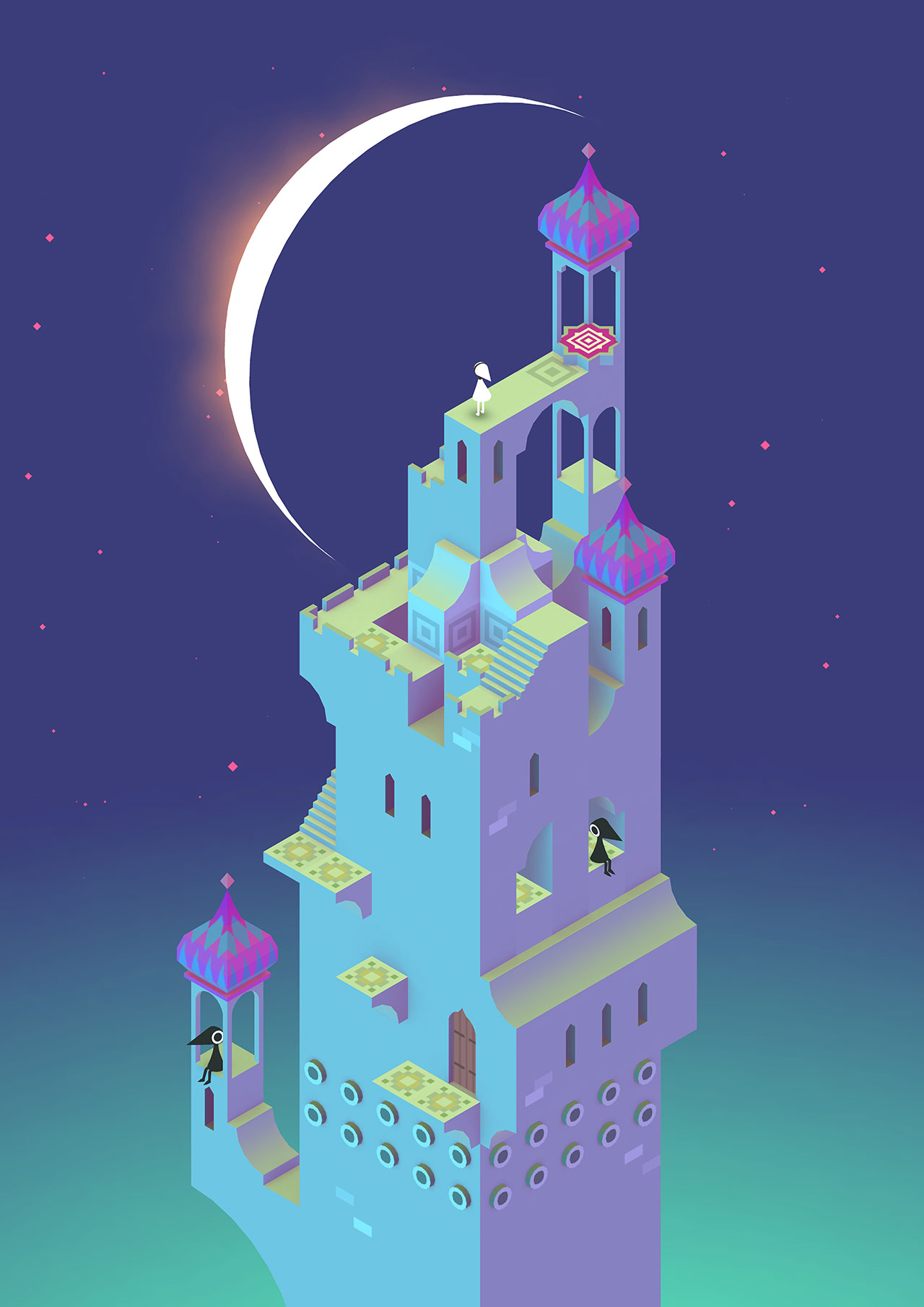 Ken Wong for ustwo studio, Digital illustration, Moon, Monument Valley game, 2014. Image courtesy of Monument Valley.