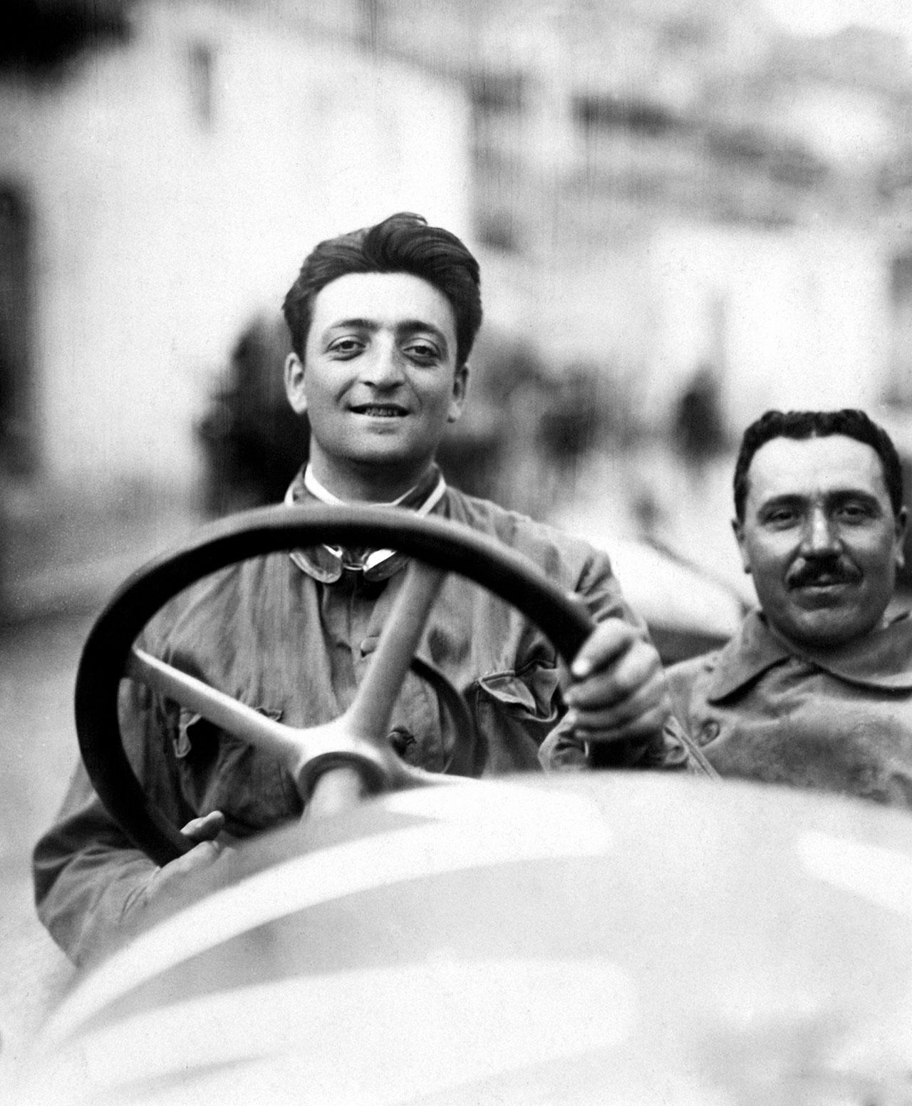 Enzo Ferrari at the Targa Florio in 1920. - The car is an Alfa Romeo 40-60 HP Racing Type. Photo courtesy of Ferrari.
