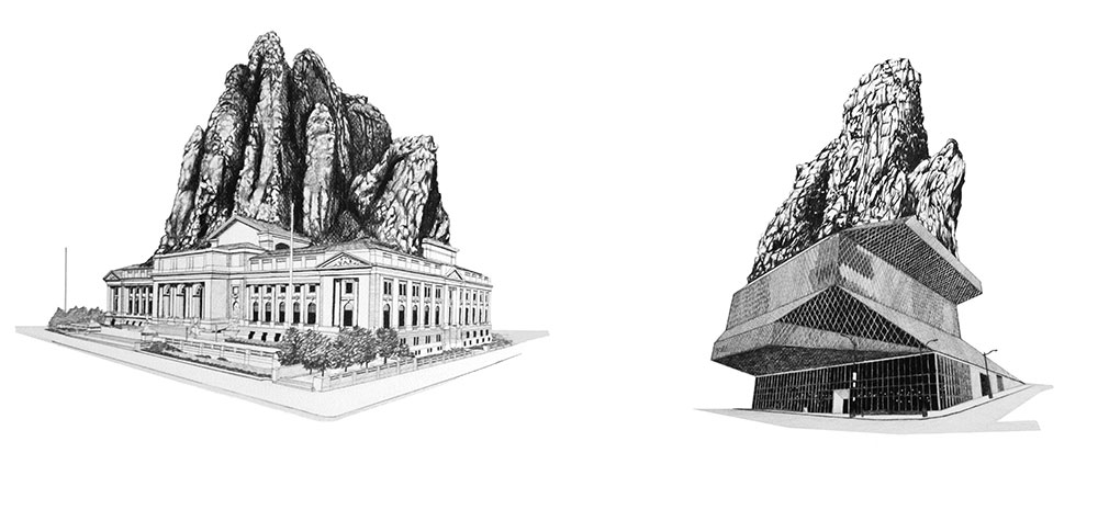 Left: Project for New York Central Library Addition 2009 Pencil, coloured pencil, paper 100 x 70 cm Right: Project for Seattle Central Library Addition 2009 Pencil, coloured pencil, paper 100 x 70 cm Photo © Jorge Méndez Blake.