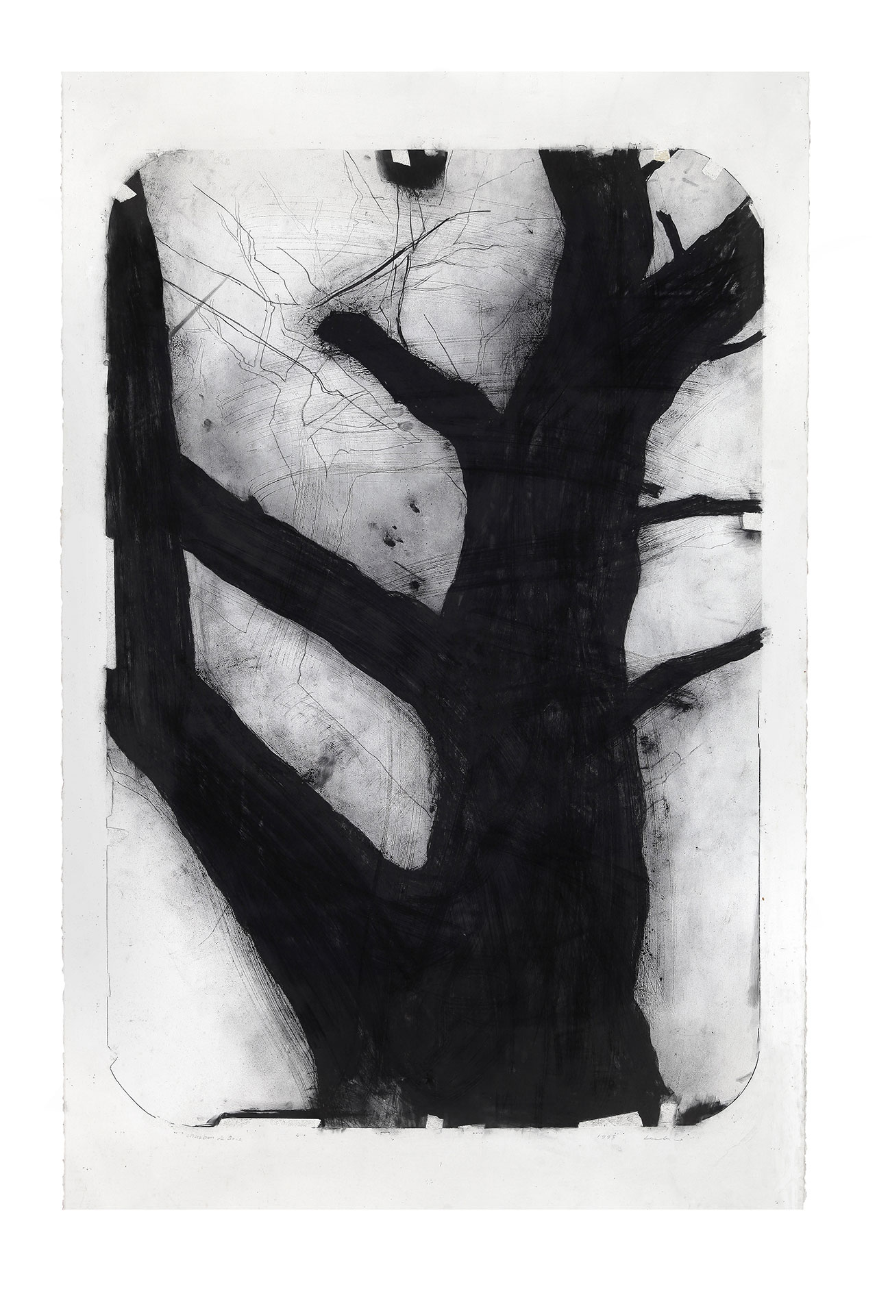 Dessin, 1997. Charcoal on paper, 145 x 114 cm. © Lee Bae.