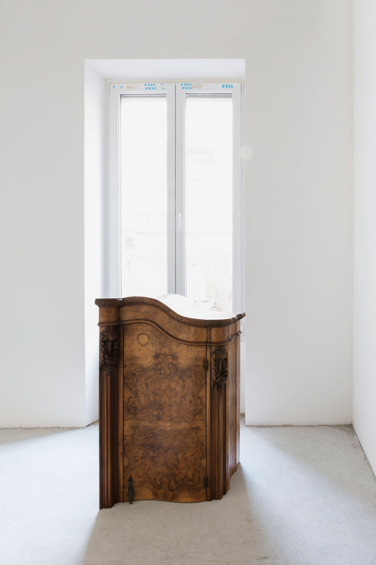 "Nucleo (Piergiorgio Robino + Marzia Ricci), ""Boolean"" Not (Cabinet), 2017. Concrete, vintage furniture, 61 x 67,5 x 108h cm. Unique piece in an edition 1+1. Photo by Studio Pepe Fotografia."