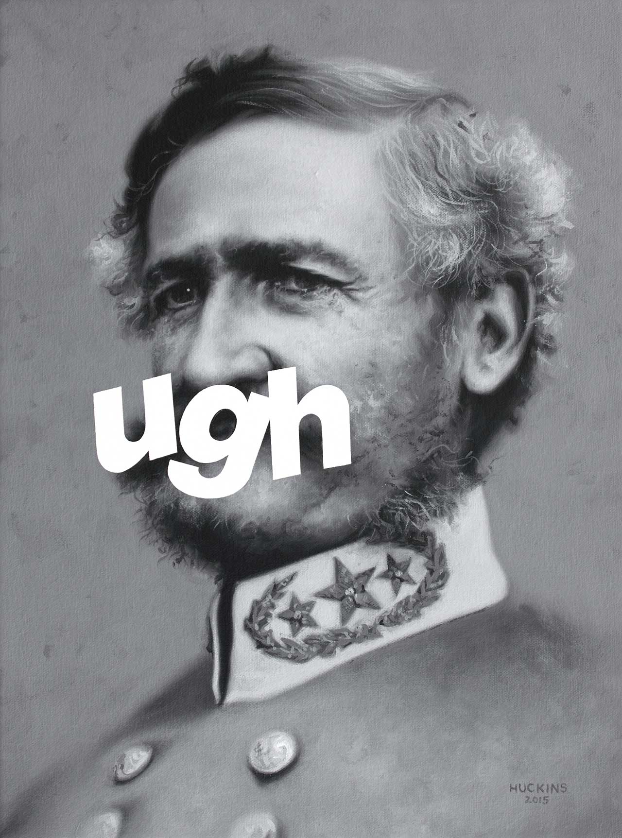 Shawn Huckins, General Henry H Sibley: UGH, 2015. Acrylic on canvas, 16 x 12 in (41 x 30 cm).