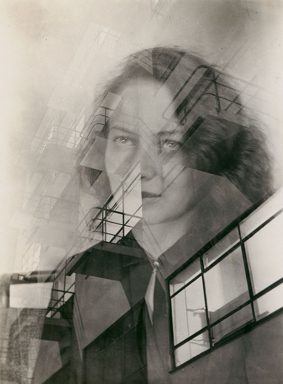 Portrait of Otti Berger with Bauhaus facade, double exposure, c. 1931, photo: unknown (attributed to Judit Kárász), © Bauhaus-Archiv Berlin.