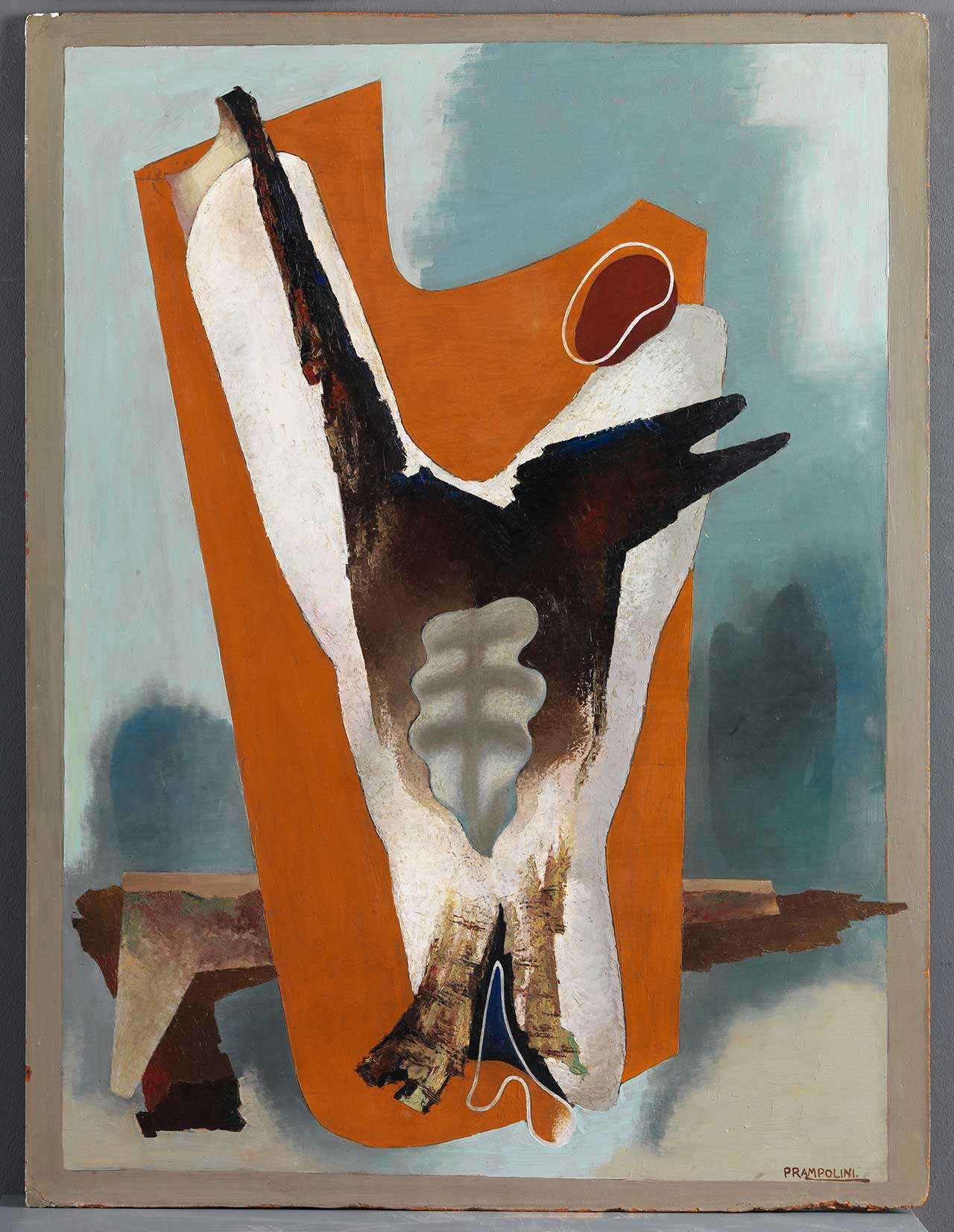 Enrico Prampolini, I funerali del romanticismo: trasfigurazione estetica, 1934, oil on masonite, 117 x 89,5 cm. MART, Museum of modern and contemporary art of Trento and Rovereto, collection Volker W. Feierabend MART - Photo archive and Media Library.